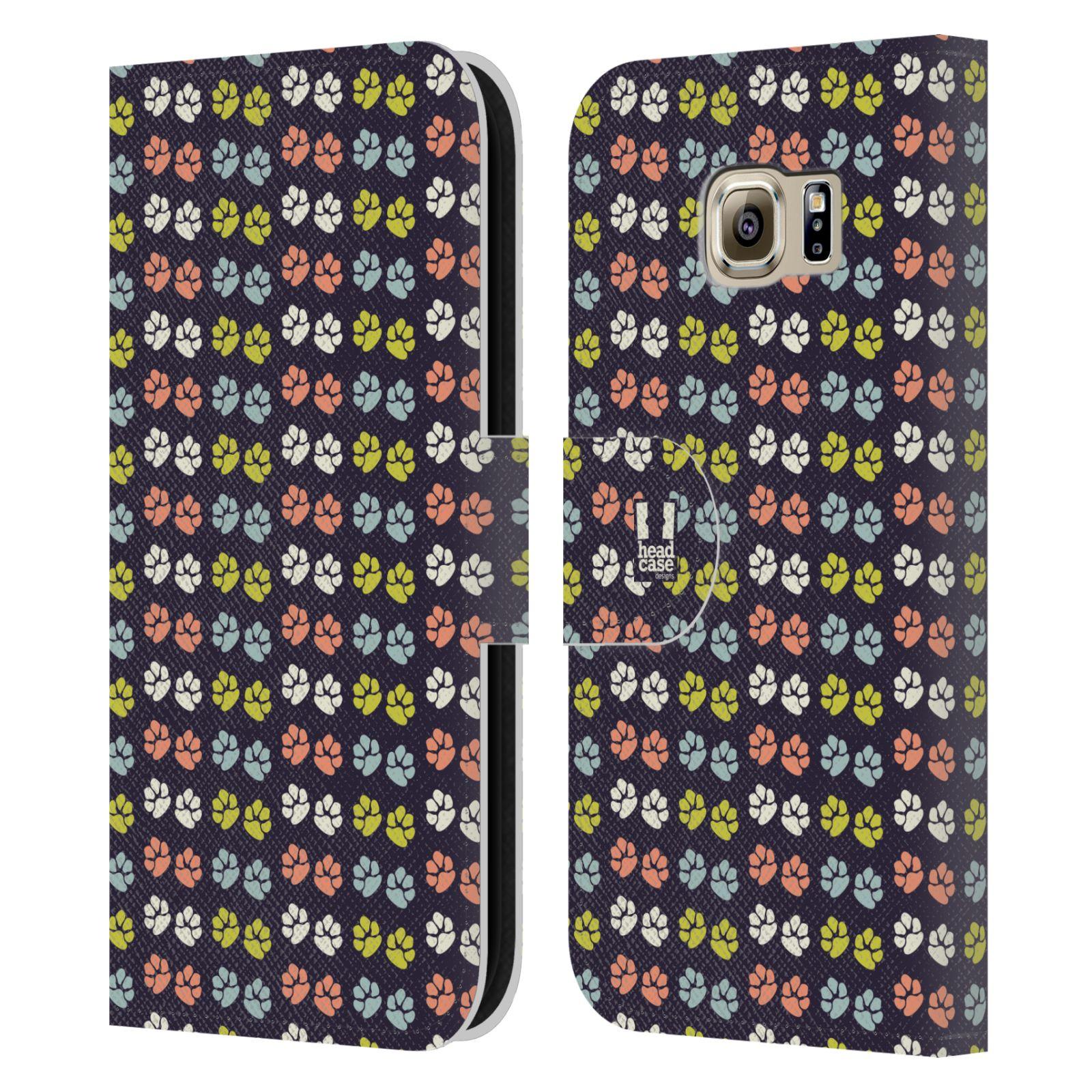 HEAD CASE Flipové pouzdro pro mobil Samsung Galaxy S6 (G9200) Pejsek ťapky barevné RETRO