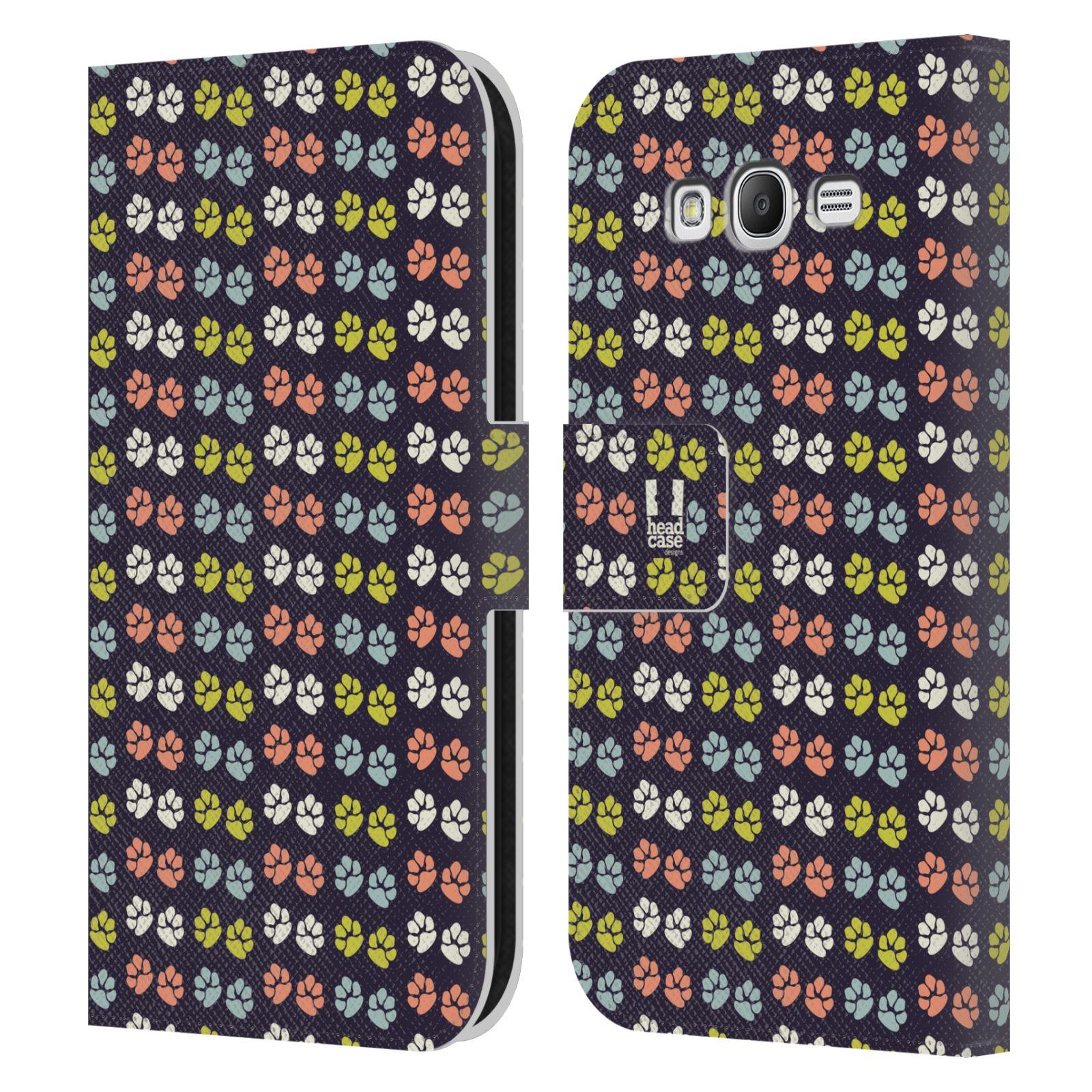 HEAD CASE Flipové pouzdro pro mobil Samsung Galaxy Grand i9080 Pejsek ťapky barevné RETRO