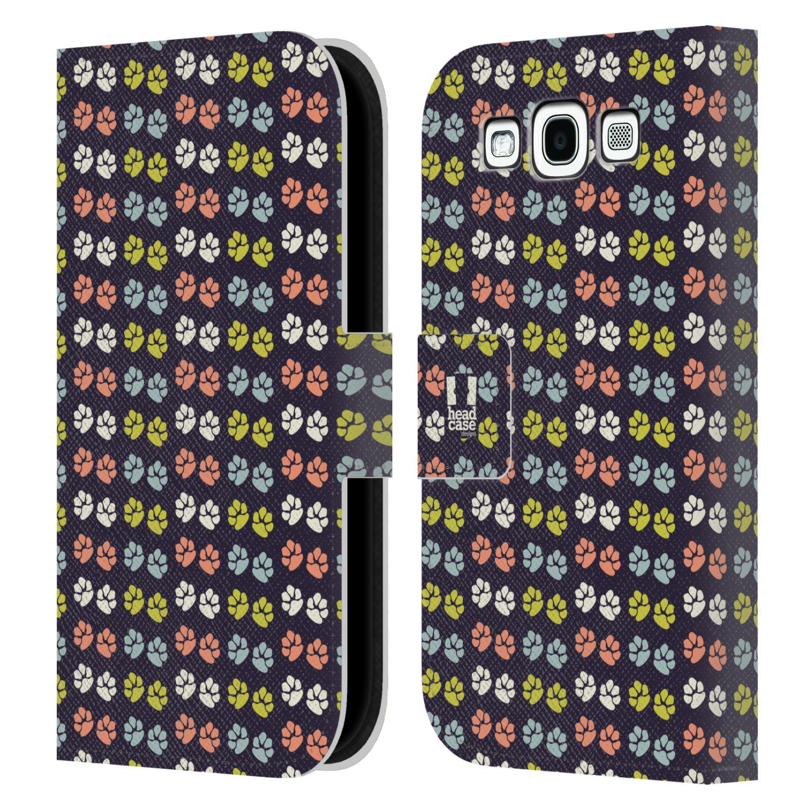 HEAD CASE Flipové pouzdro pro mobil Samsung Galaxy S3 Pejsek ťapky barevné RETRO