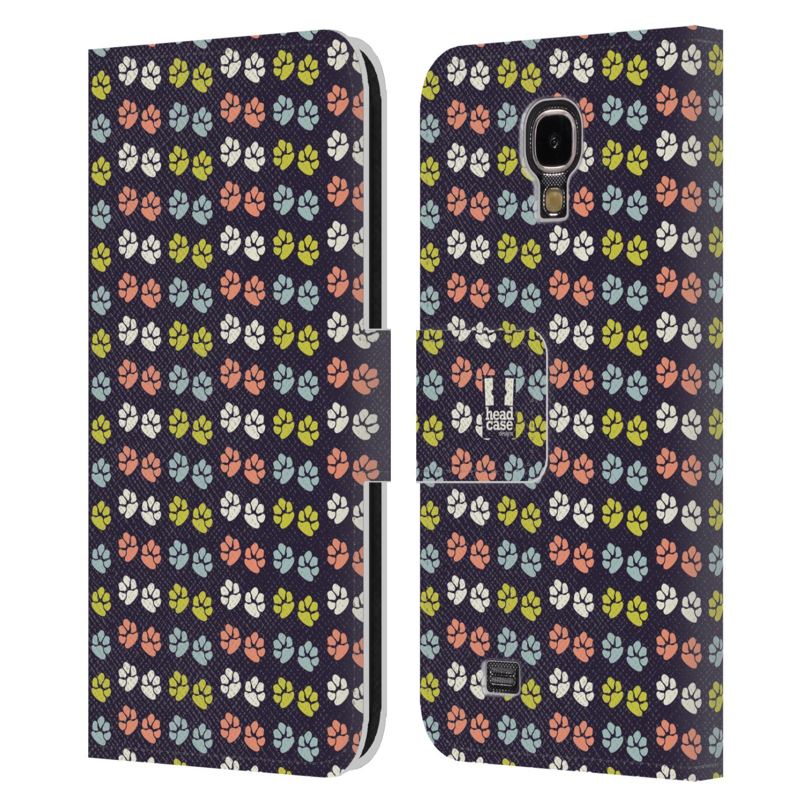 HEAD CASE Flipové pouzdro pro mobil Samsung Galaxy S4 Pejsek ťapky barevné RETRO