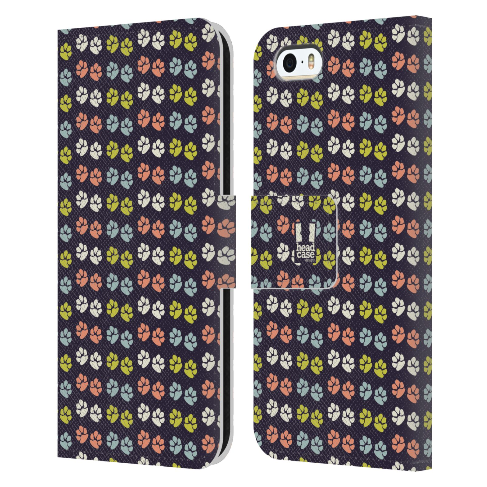 HEAD CASE Flipové pouzdro pro mobil Apple Iphone 5/5s Pejsek ťapky barevné RETRO