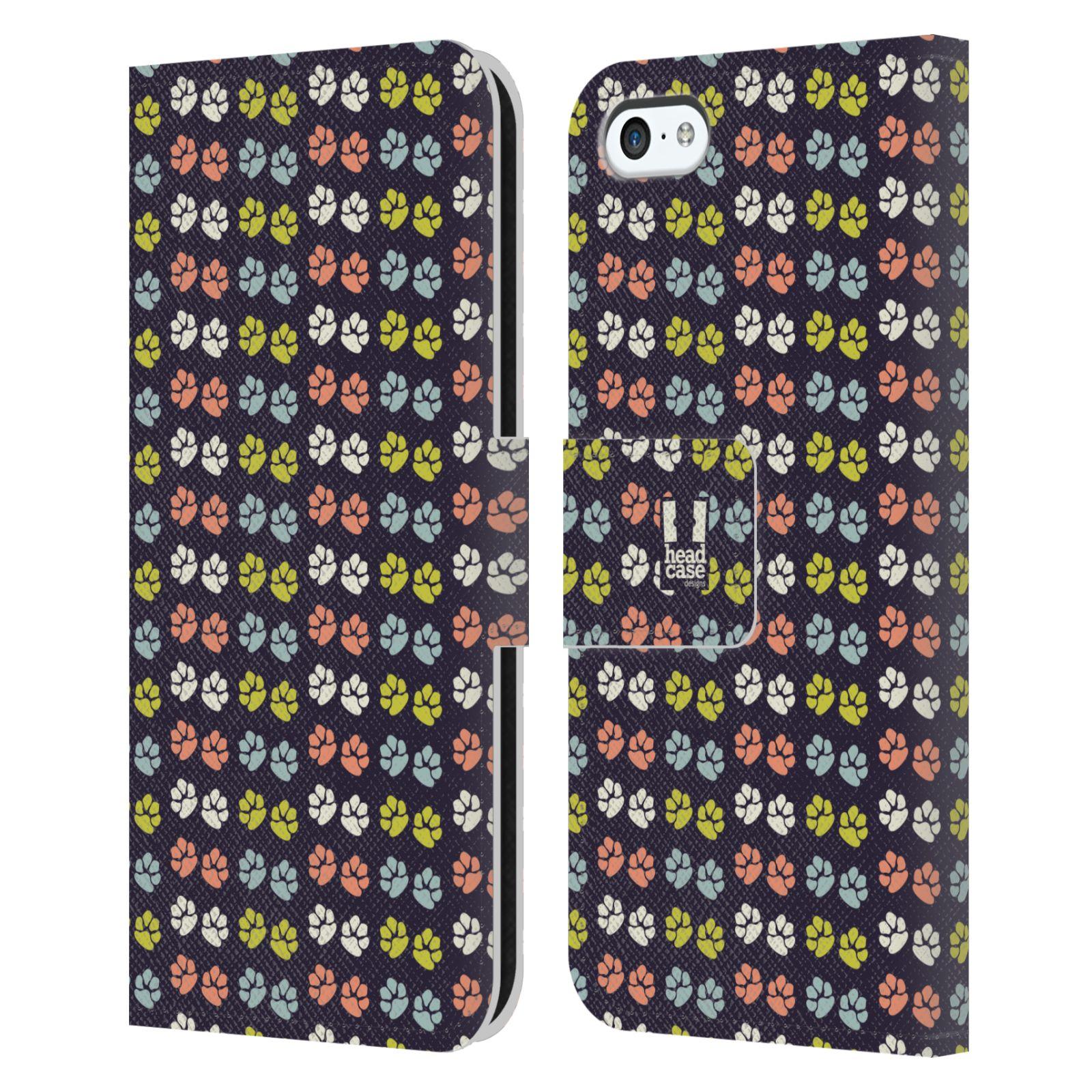 HEAD CASE Flipové pouzdro pro mobil Apple Iphone 5C Pejsek ťapky barevné RETRO