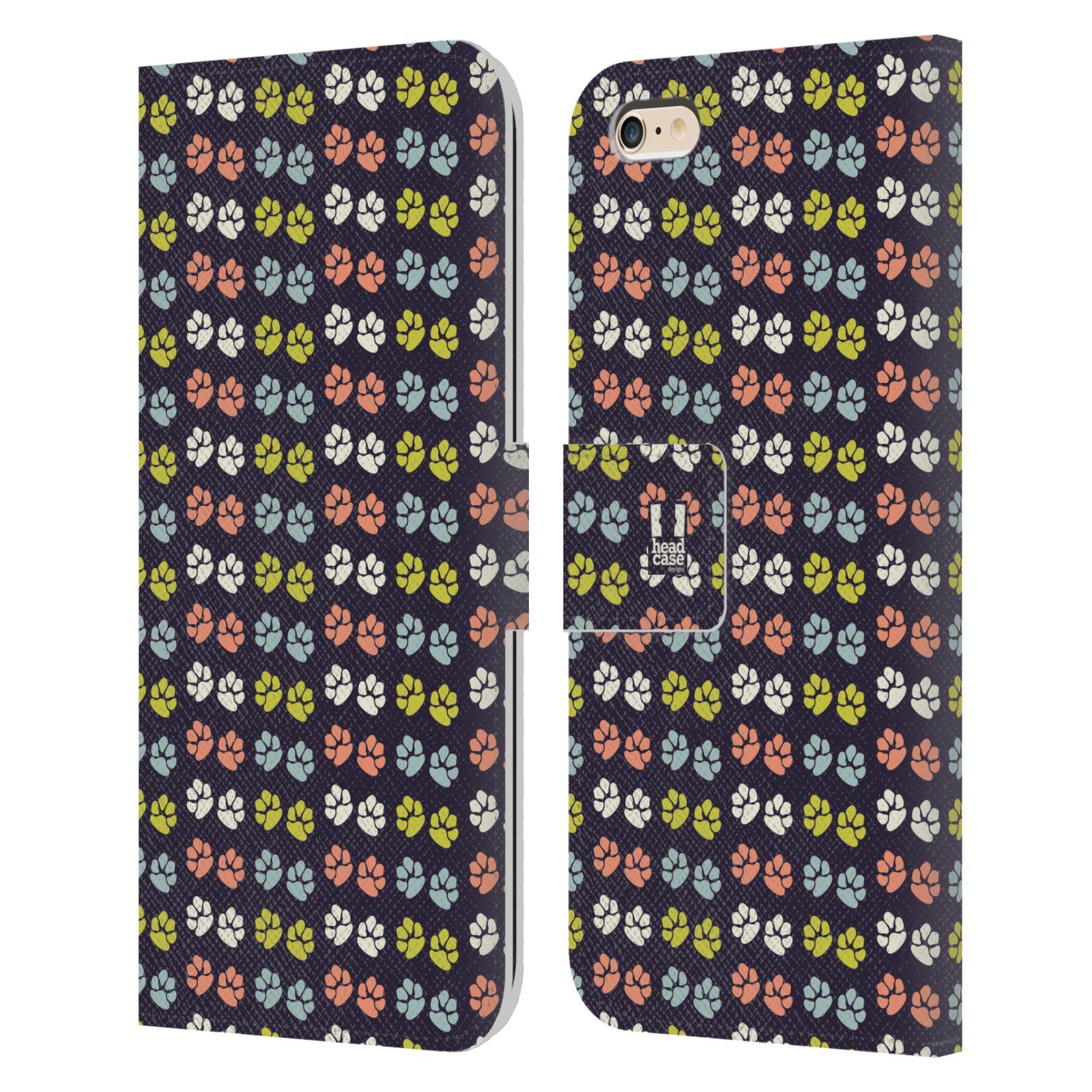 HEAD CASE Flipové pouzdro pro mobil Apple Iphone 6 PLUS / 6S PLUS Pejsek ťapky barevné RETRO