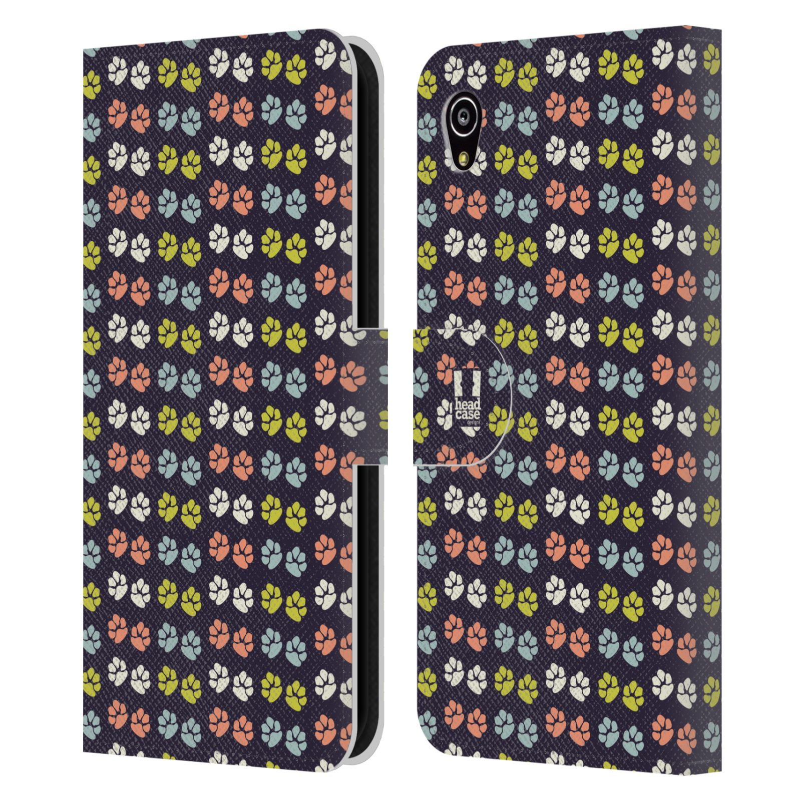 HEAD CASE Flipové pouzdro pro mobil SONY XPERIA M4 AQUA Pejsek ťapky barevné RETRO