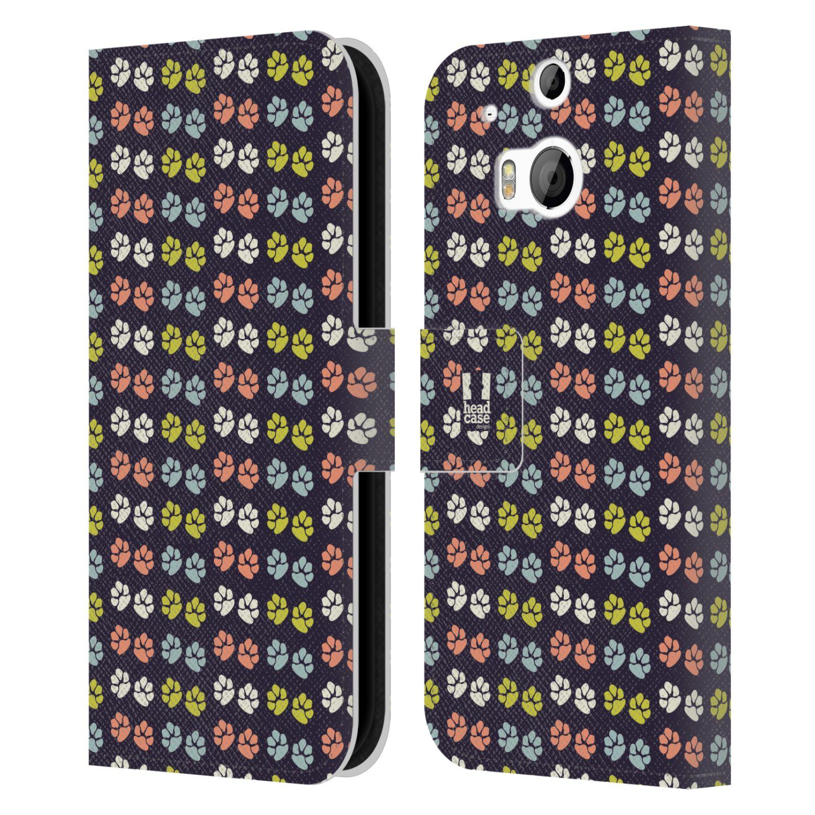 HEAD CASE Flipové pouzdro pro mobil HTC ONE (M8, M8s) Pejsek ťapky barevné RETRO