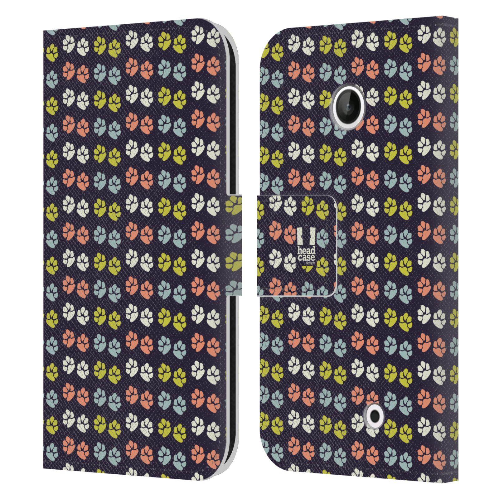 HEAD CASE Flipové pouzdro pro mobil NOKIA LUMIA 630 / LUMIA 630 DUAL Pejsek ťapky barevné RETRO