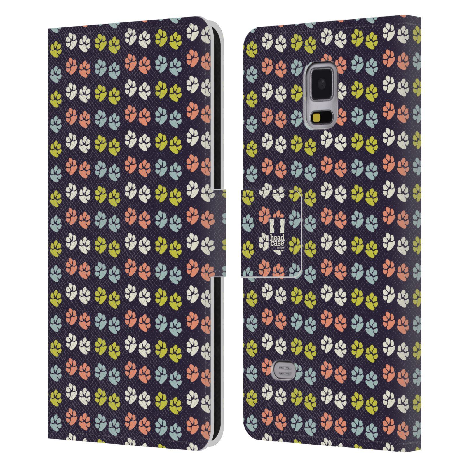 HEAD CASE Flipové pouzdro pro mobil Samsung Galaxy Note 4 Pejsek ťapky barevné RETRO