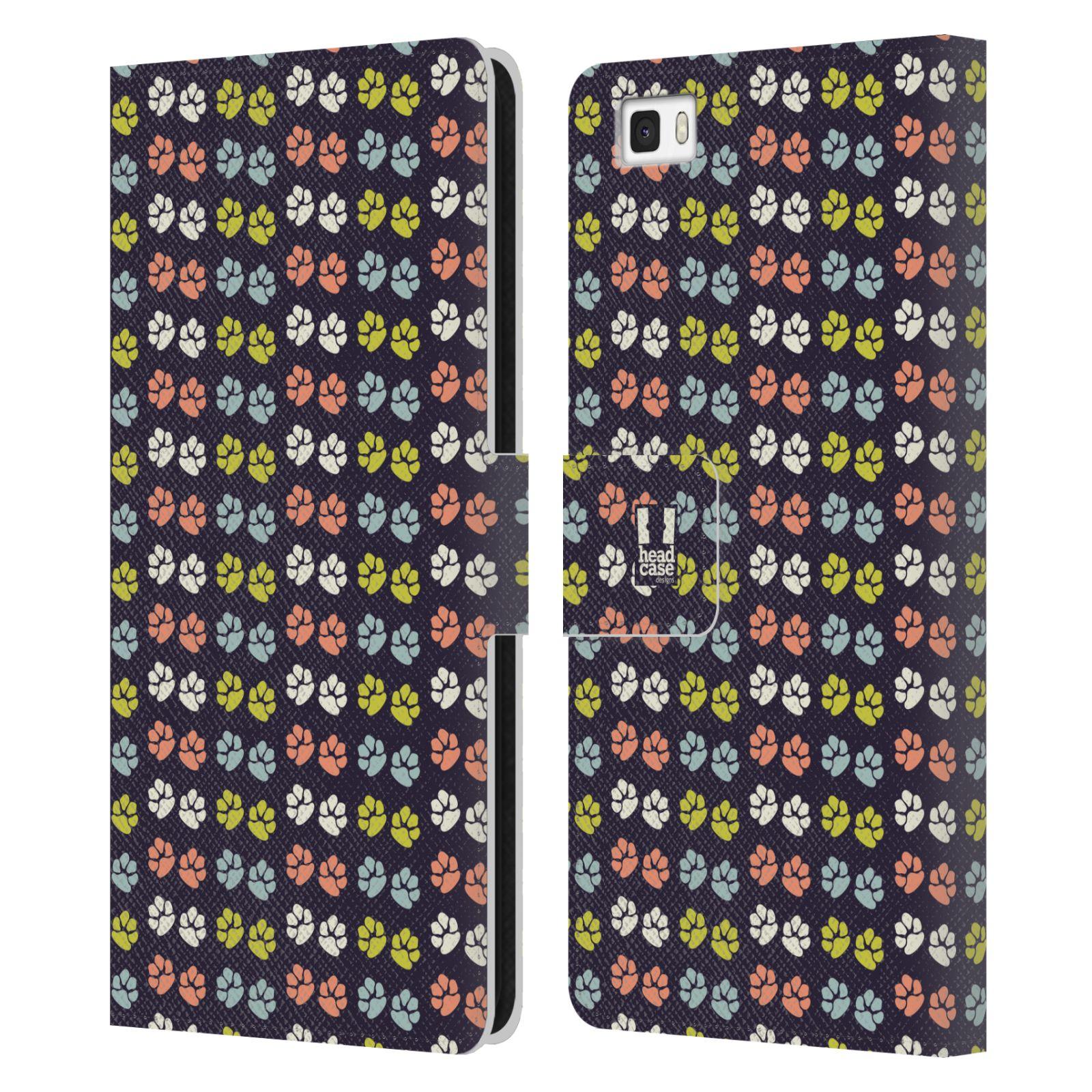 HEAD CASE Flipové pouzdro pro mobil Huawei P8 LITE Pejsek ťapky barevné RETRO