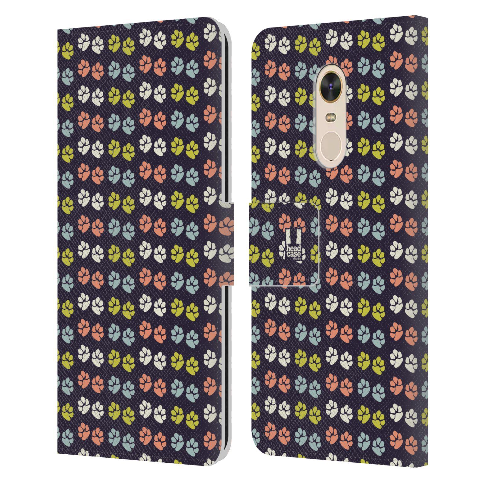 HEAD CASE Flipové pouzdro pro mobil Xiaomi Redmi 5 PLUS Pejsek ťapky barevné RETRO