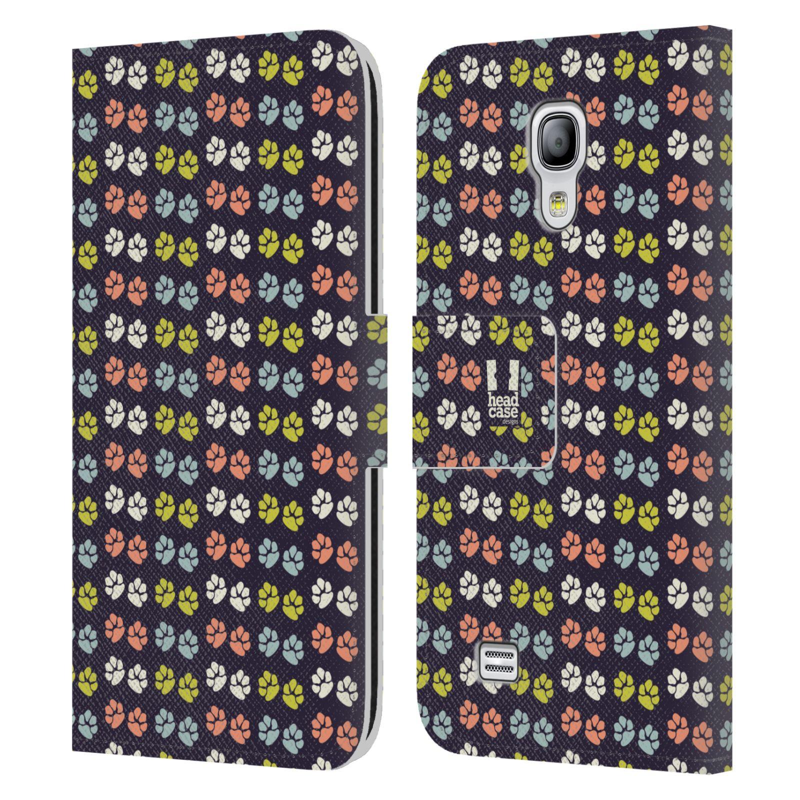 HEAD CASE Flipové pouzdro pro mobil Samsung Galaxy S4 MINI / S4 MINI DUOS Pejsek ťapky barevné RETRO