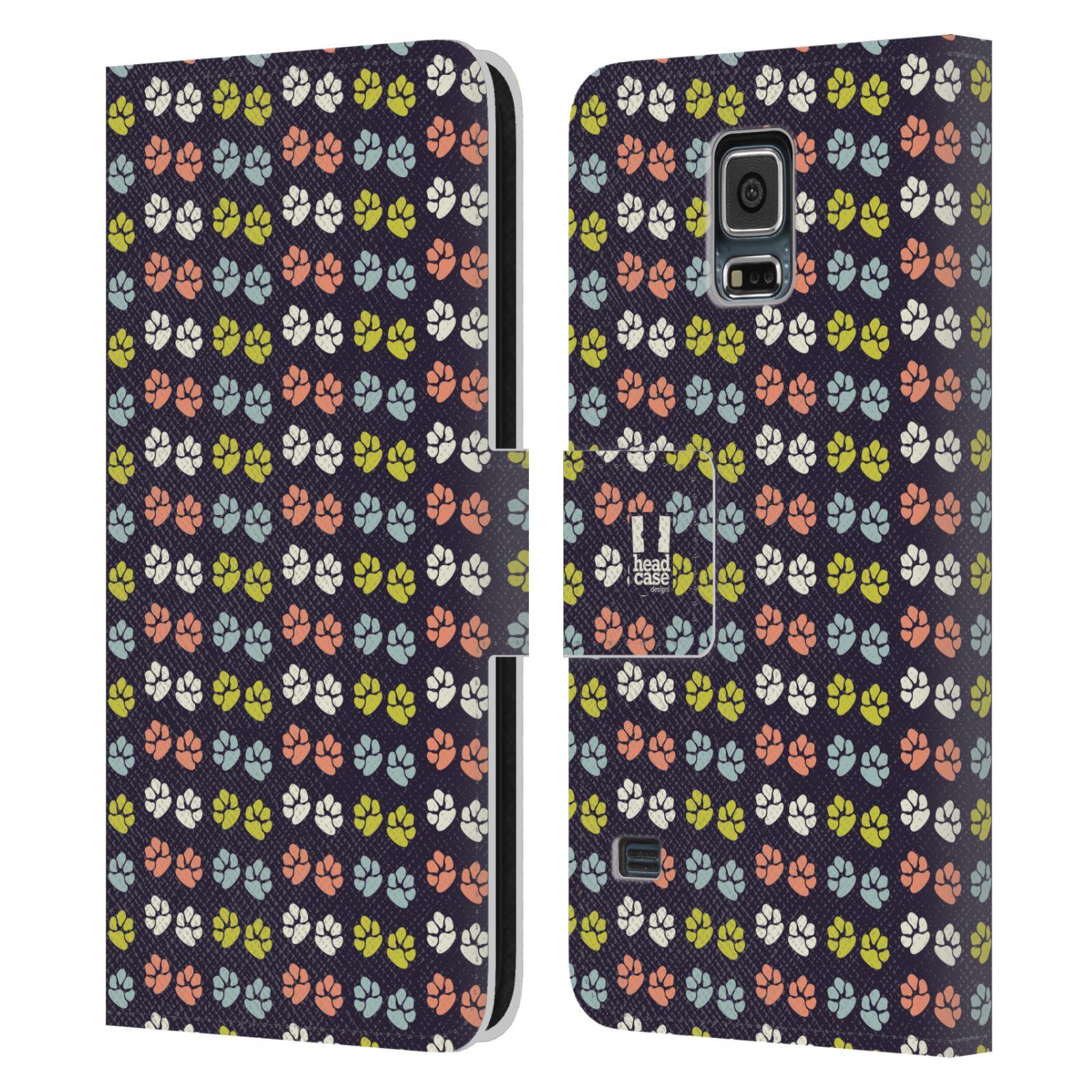 HEAD CASE Flipové pouzdro pro mobil Samsung Galaxy S5 / S5 NEO Pejsek ťapky barevné RETRO