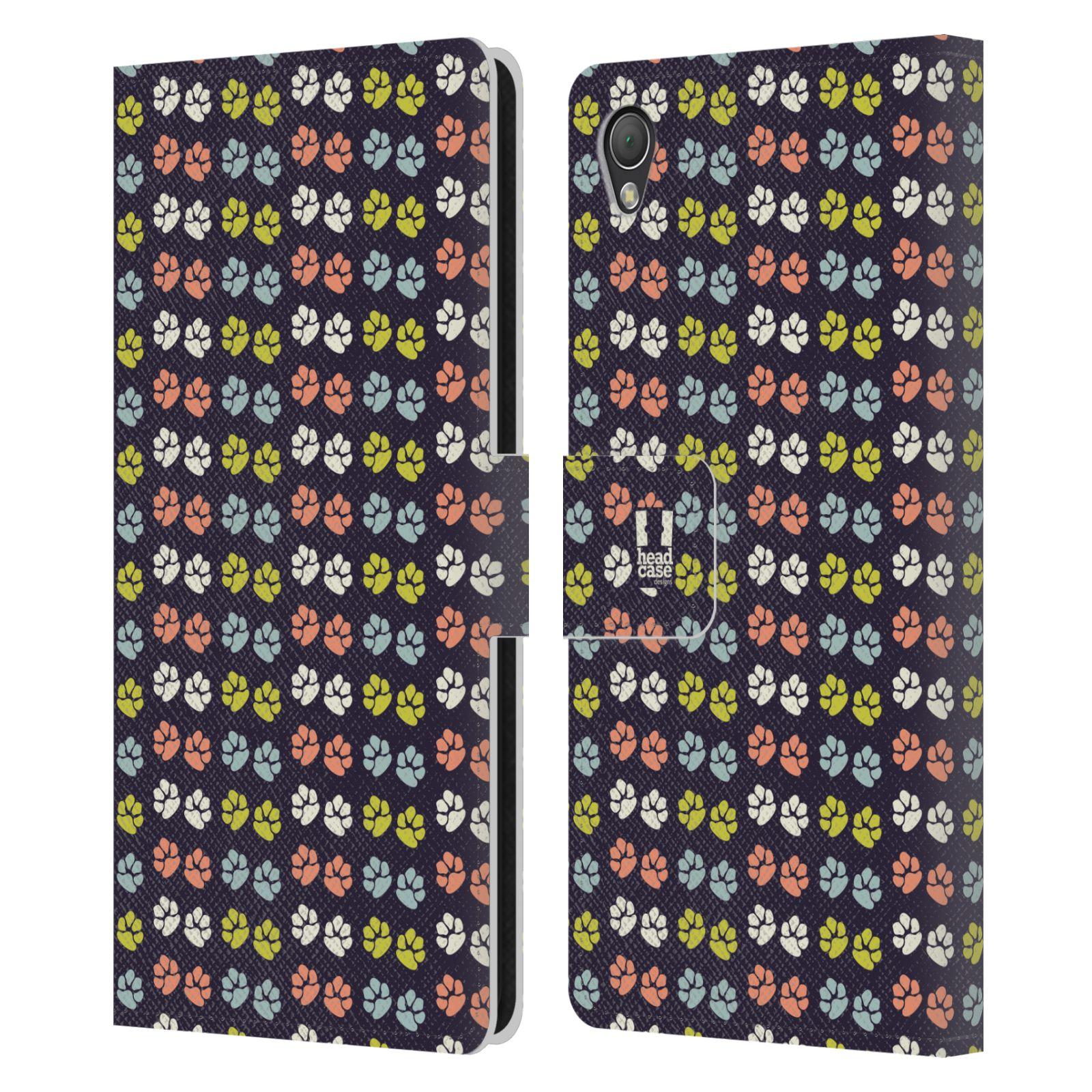 HEAD CASE Flipové pouzdro pro mobil SONY XPERIA Z3 Pejsek ťapky barevné RETRO