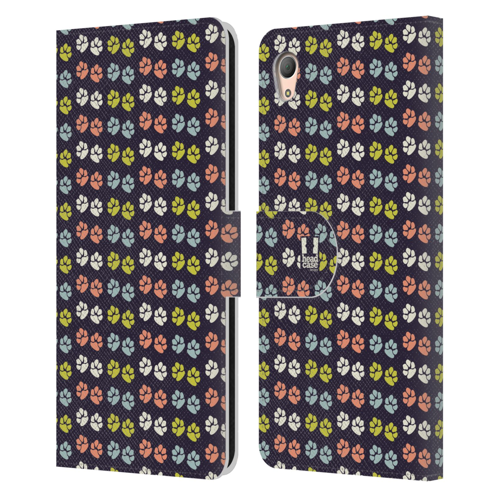 HEAD CASE Flipové pouzdro pro mobil SONY XPERIA Z3+ (PLUS) Pejsek ťapky barevné RETRO