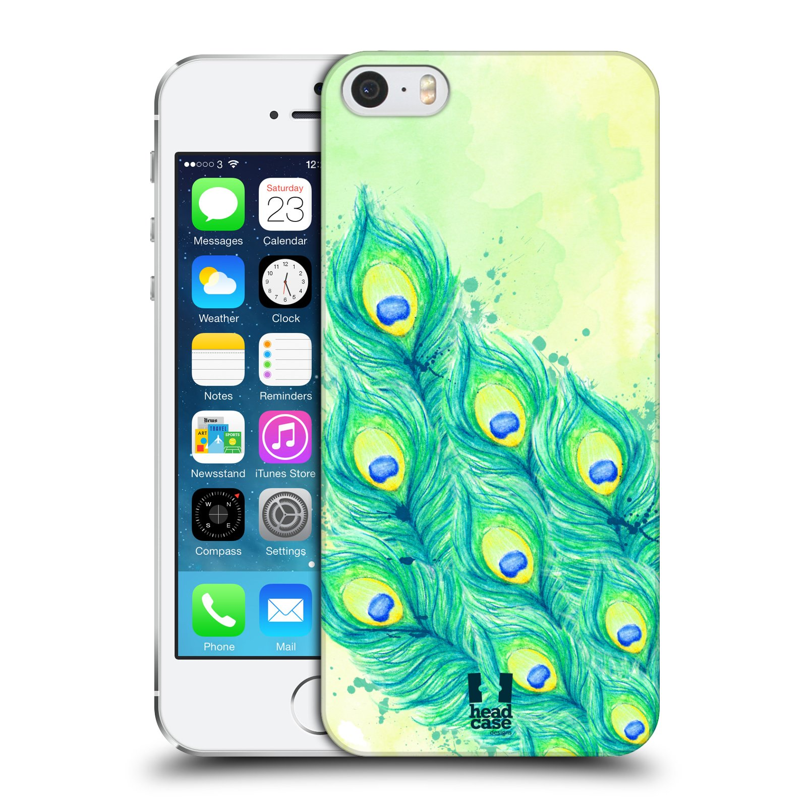 HEAD CASE DESIGNS PEACOCK FEATHERS CASE COVER FOR APPLE iPHONE 5 5S