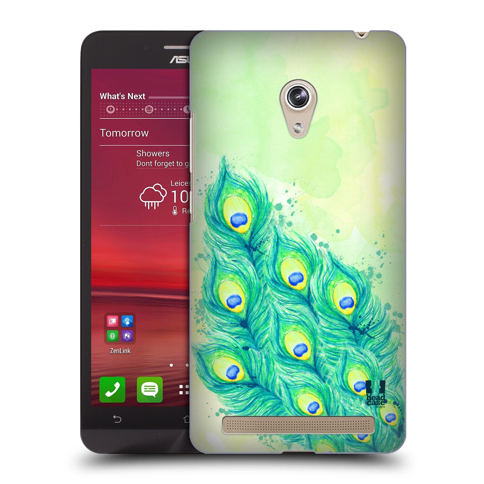 HEAD CASE plastový obal na mobil Asus Zenfone 6 vzor Paví pírka barevná MODRÁ A ZELENÁ