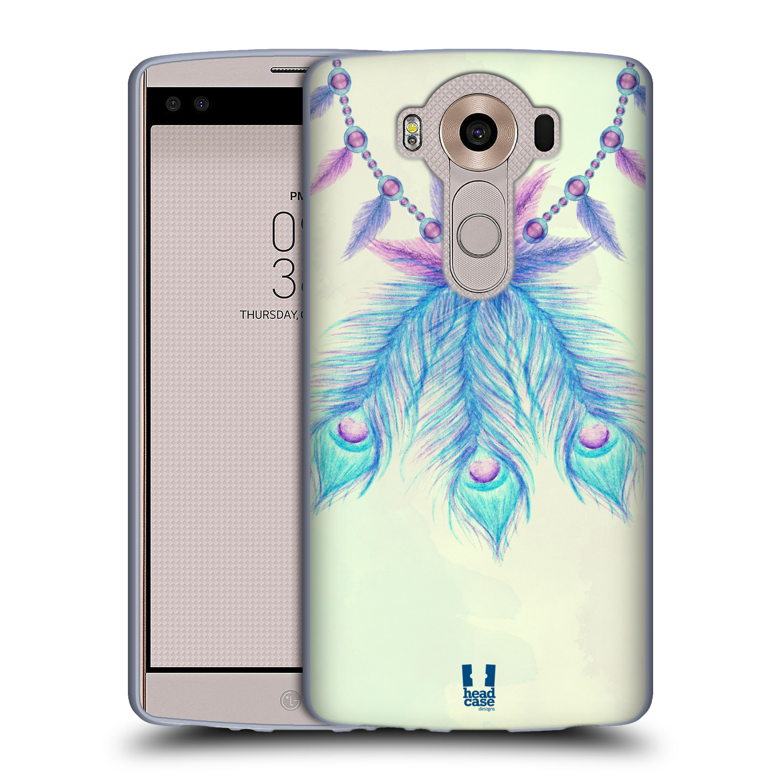 HEAD CASE silikonový obal na mobil LG V10 (H960A) vzor Paví pírka barevná MODRÁ ŠTĚSTÍ