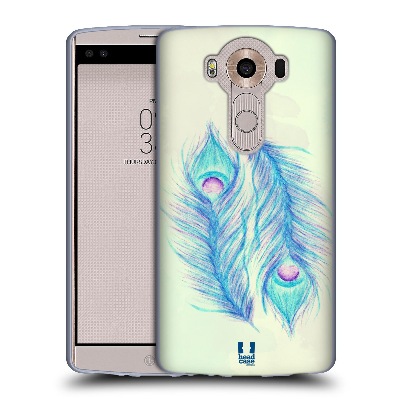 HEAD CASE silikonový obal na mobil LG V10 (H960A) vzor Paví pírka barevná MODRÁ PÁR