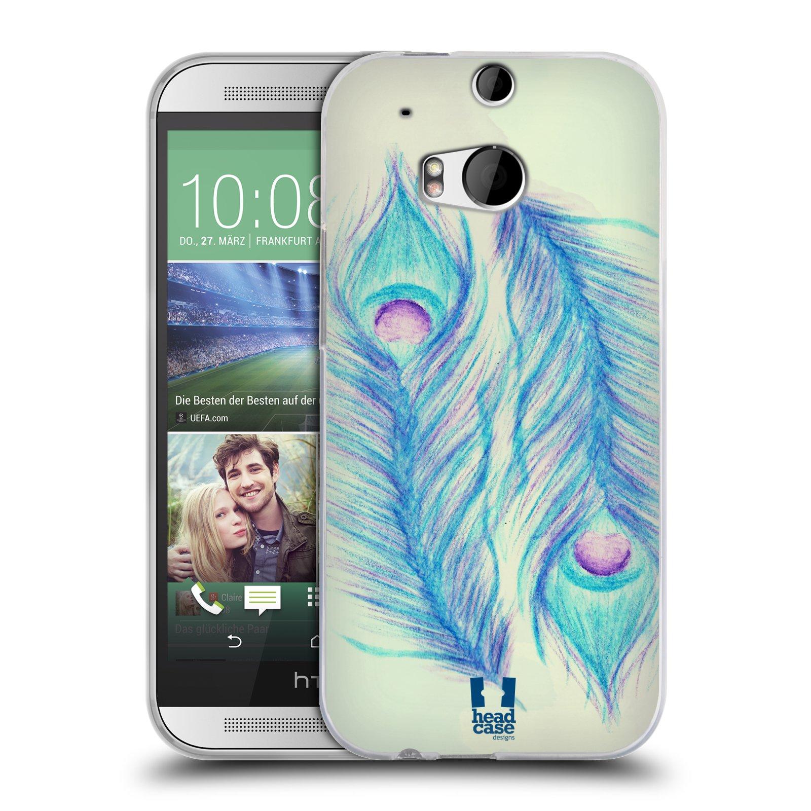 HEAD CASE silikonový obal na mobil HTC ONE (M8) vzor Paví pírka barevná MODRÁ PÁR