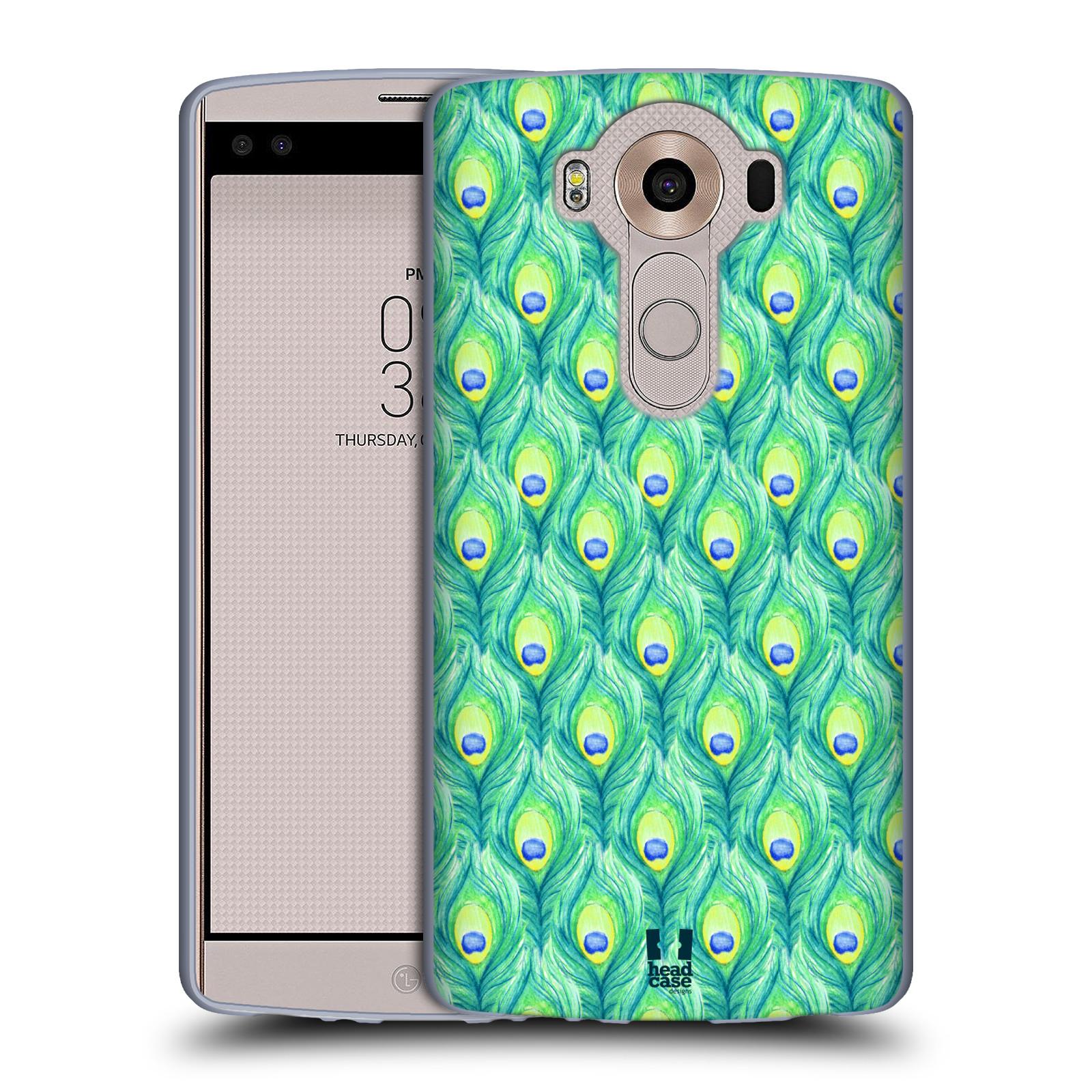 HEAD CASE silikonový obal na mobil LG V10 (H960A) vzor Paví pírka barevná ZELENÁ