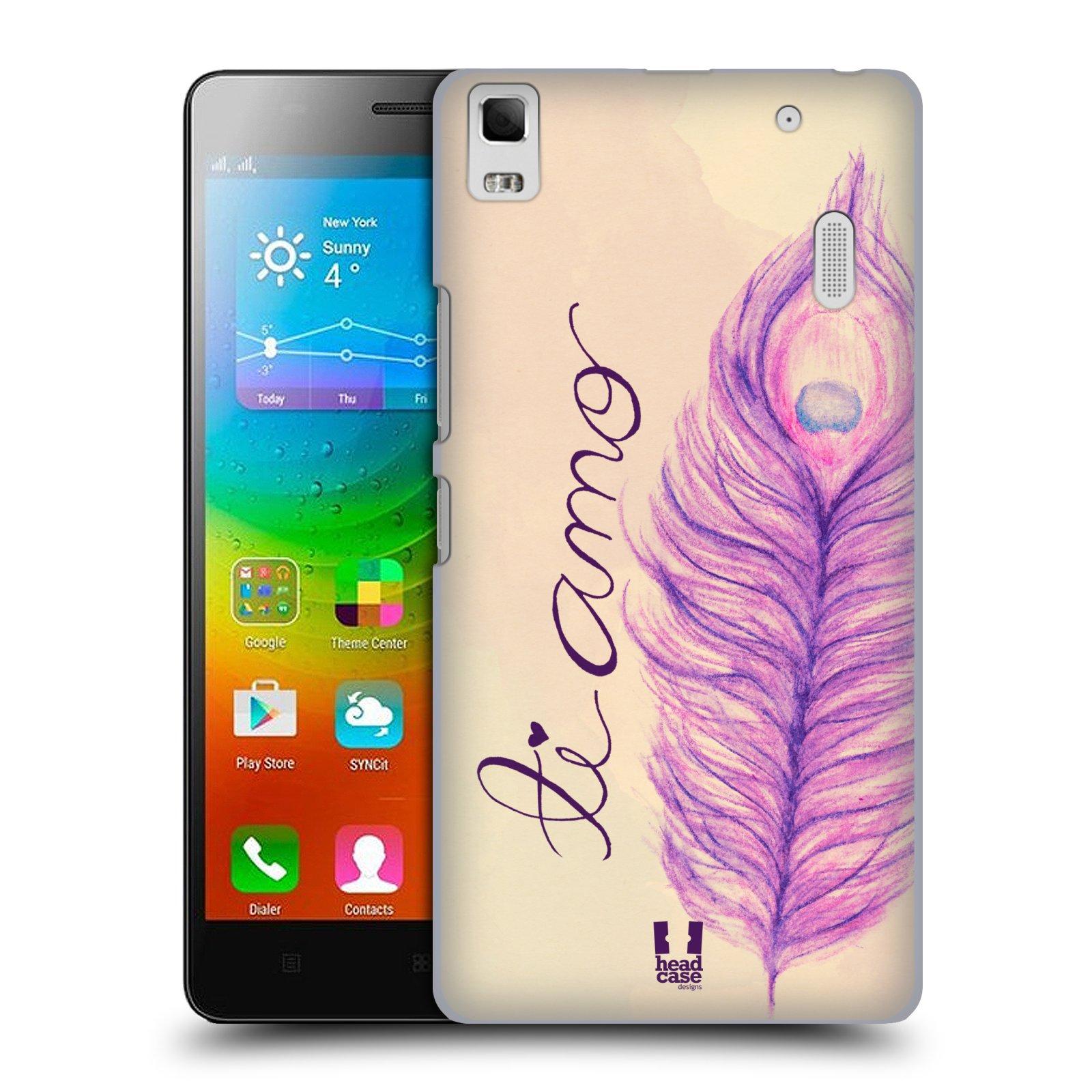 HEAD CASE pevný plastový obal na mobil LENOVO A7000 / A7000 DUAL / K3 NOTE vzor Paví pírka barevná FIALOVÁ TI AMO
