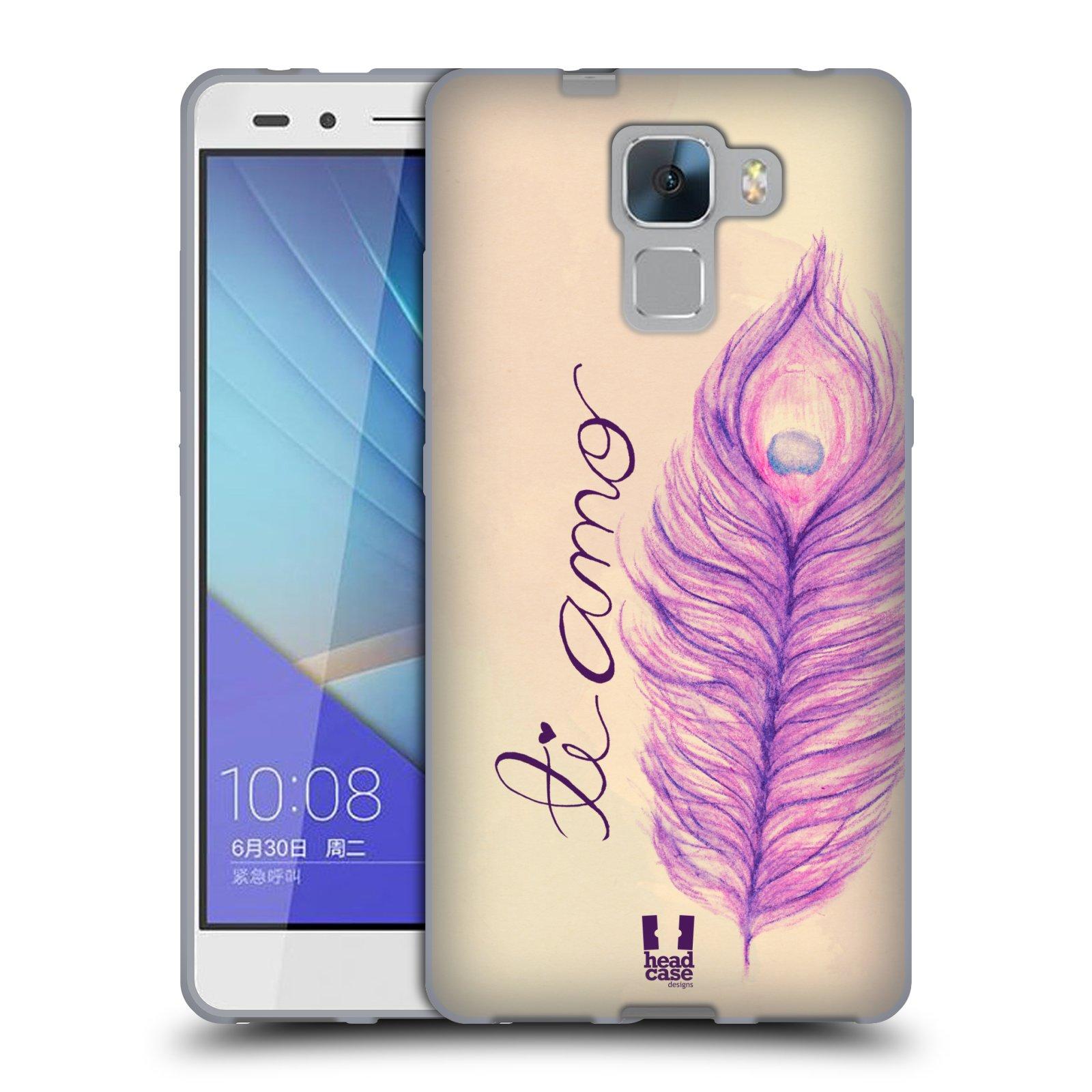HEAD CASE silikonový obal na mobil HUAWEI HONOR 7 vzor Paví pírka barevná FIALOVÁ TI AMO