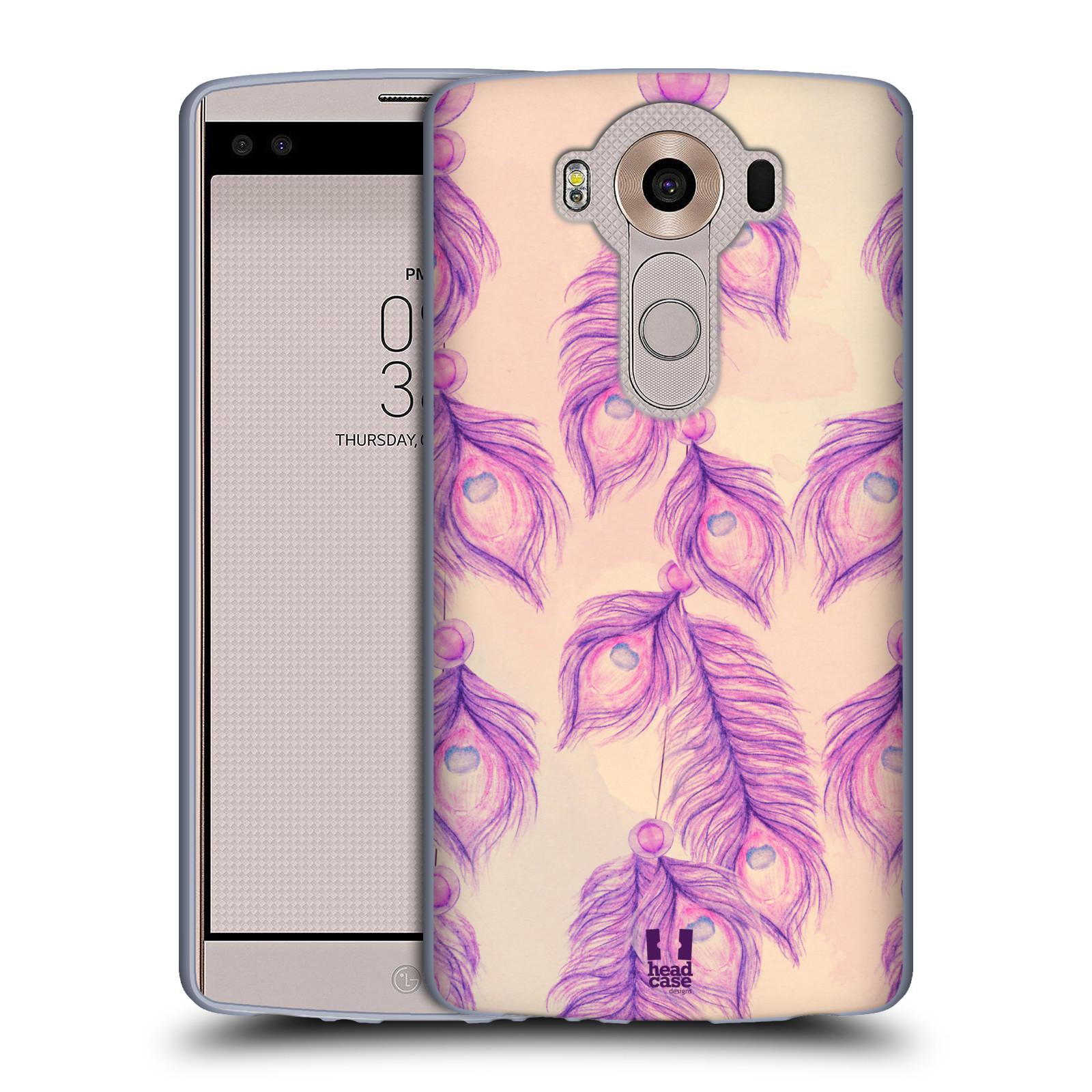 HEAD CASE silikonový obal na mobil LG V10 (H960A) vzor Paví pírka barevná FIALOVÁ