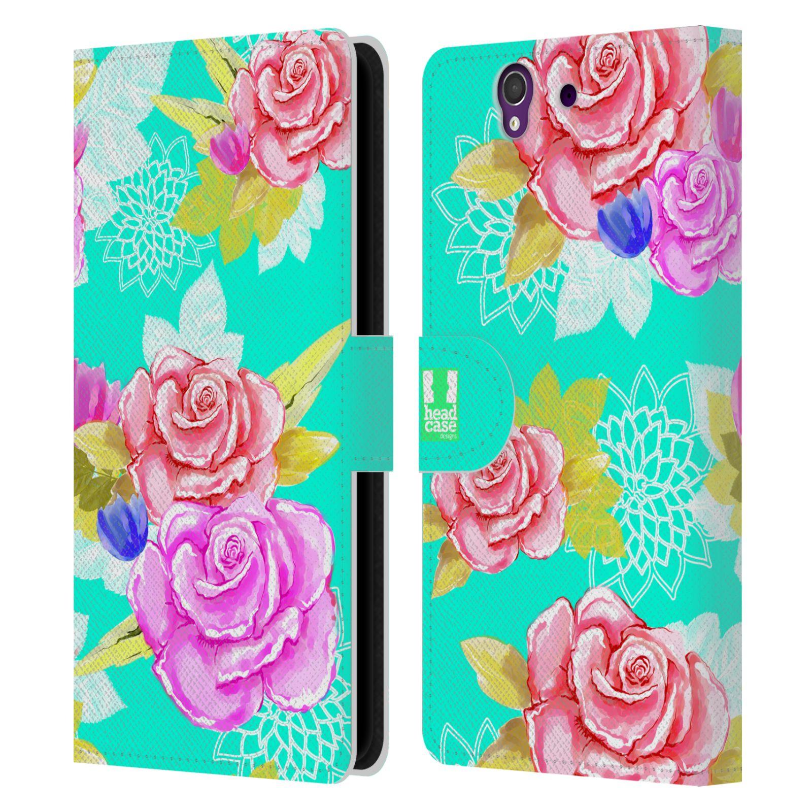 HEAD CASE Flipové pouzdro pro mobil SONY XPERIA Z (C6603) barevné kreslené květiny modrá voda