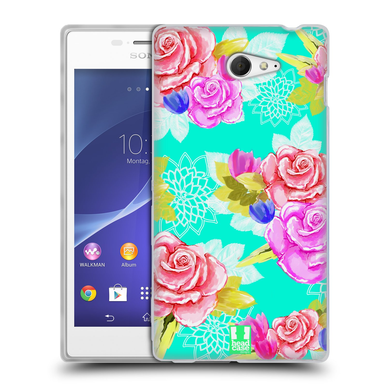 HEAD CASE PAINTED FLOWERS SILICONE GEL CASE FOR SONY XPERIA M2