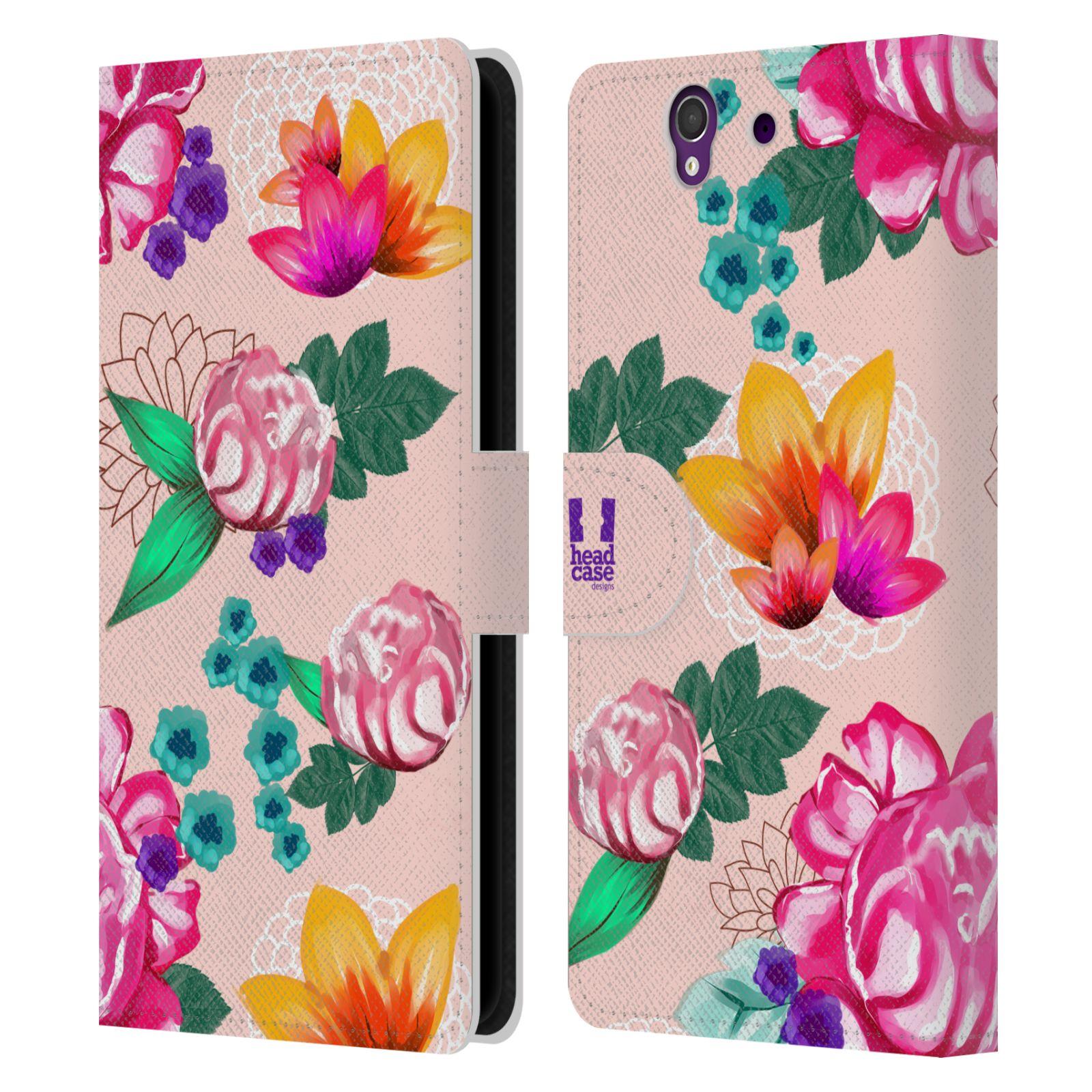 HEAD CASE Flipové pouzdro pro mobil SONY XPERIA Z (C6603) barevné kreslené květiny růžová