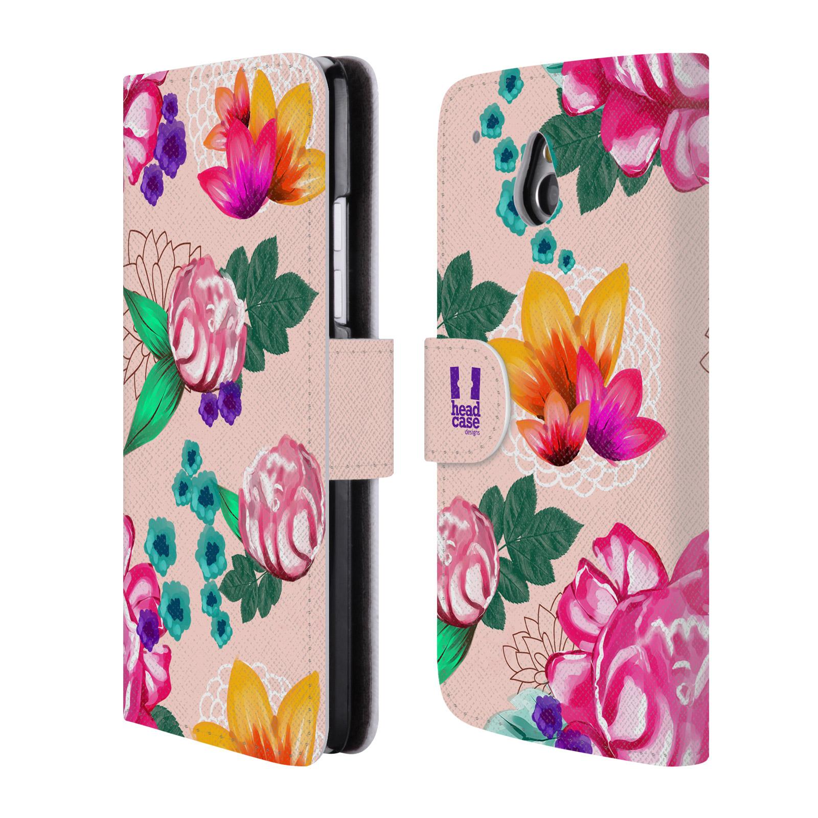 HEAD CASE Flipové pouzdro pro mobil HTC ONE MINI (M4) barevné kreslené květiny růžová