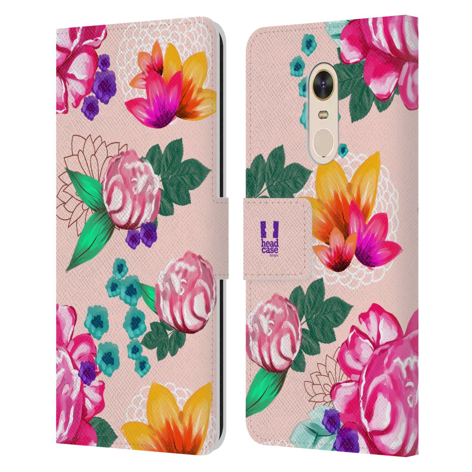 HEAD CASE Flipové pouzdro pro mobil Xiaomi Redmi Note 5 barevné kreslené květiny růžová