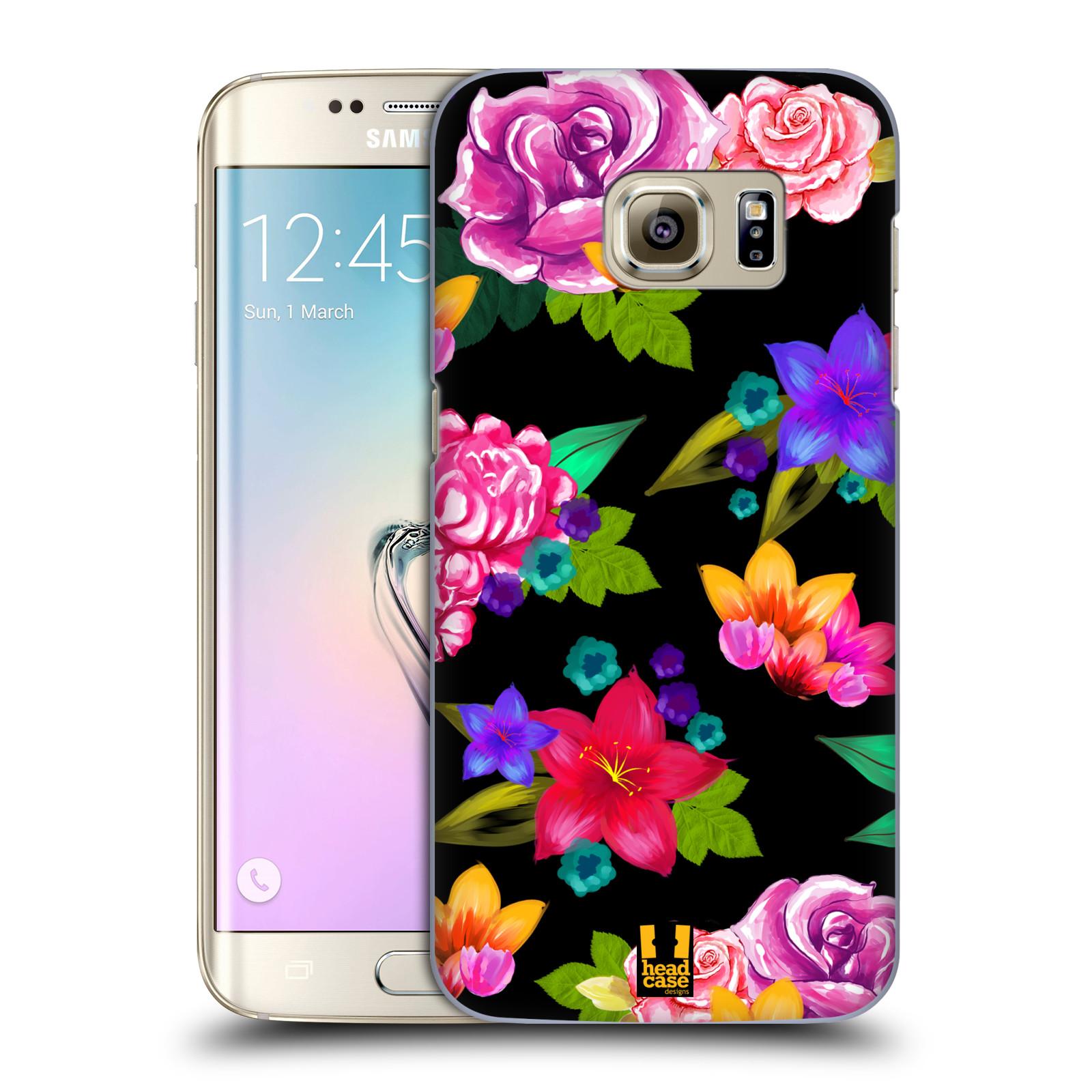 HEAD CASE plastový obal na mobil SAMSUNG GALAXY S7 EDGE vzor Malované květiny barevné ČERNÁ