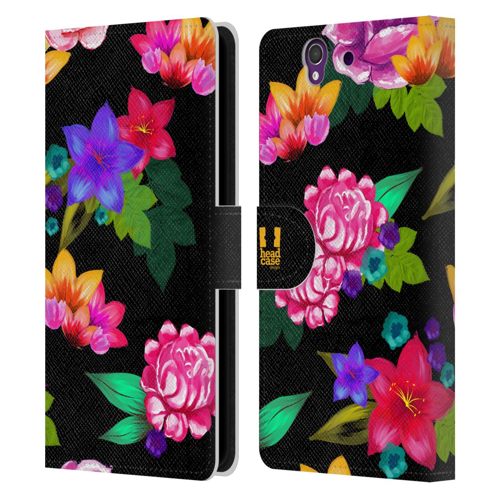 HEAD CASE Flipové pouzdro pro mobil SONY XPERIA Z (C6603) barevné kreslené květiny černá