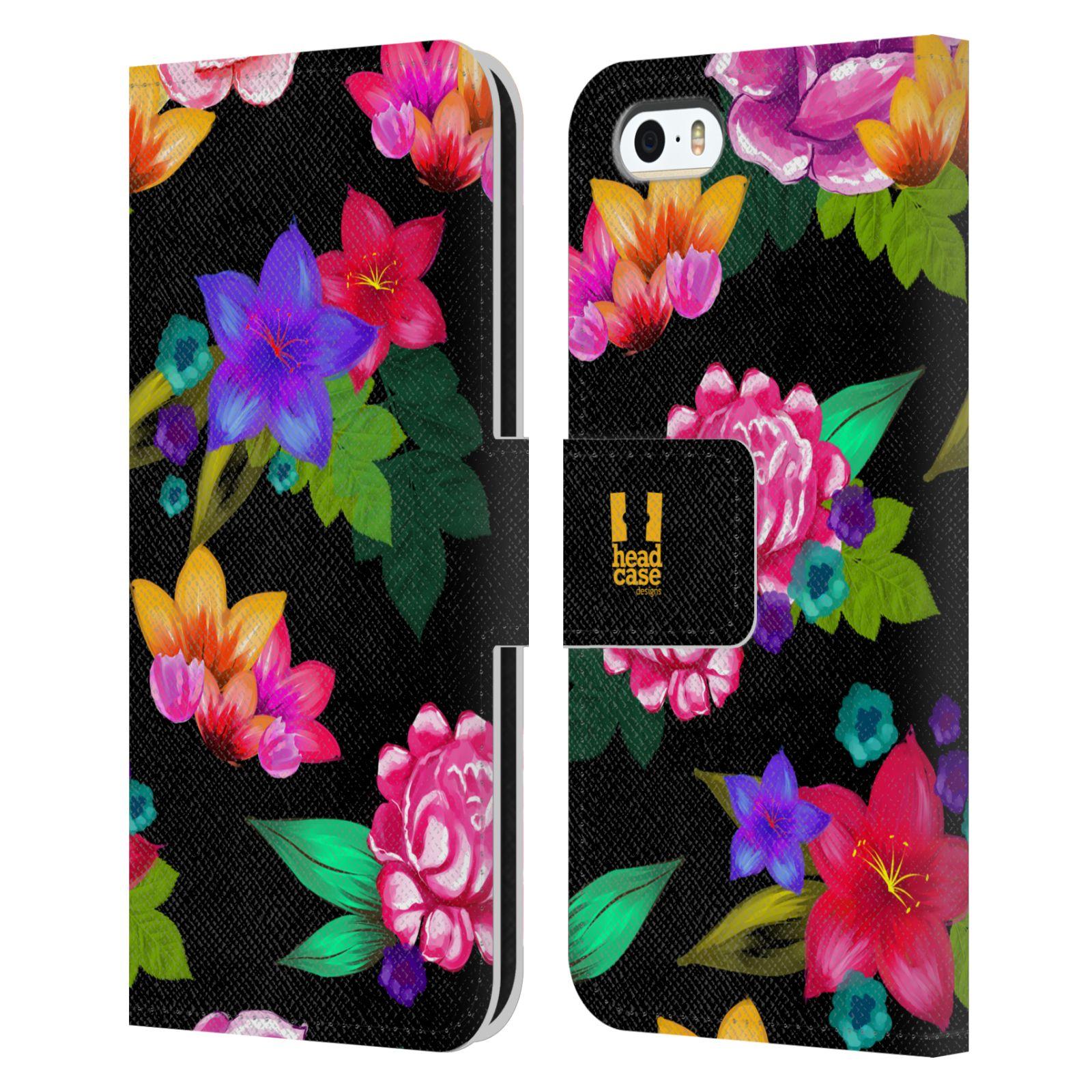 HEAD CASE Flipové pouzdro pro mobil Apple Iphone 5/5s barevné kreslené květiny černá