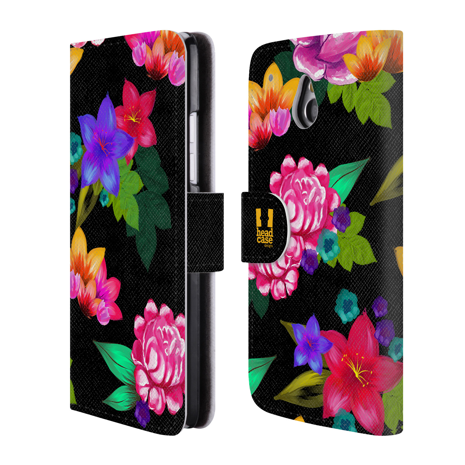 HEAD CASE Flipové pouzdro pro mobil HTC ONE MINI (M4) barevné kreslené květiny černá