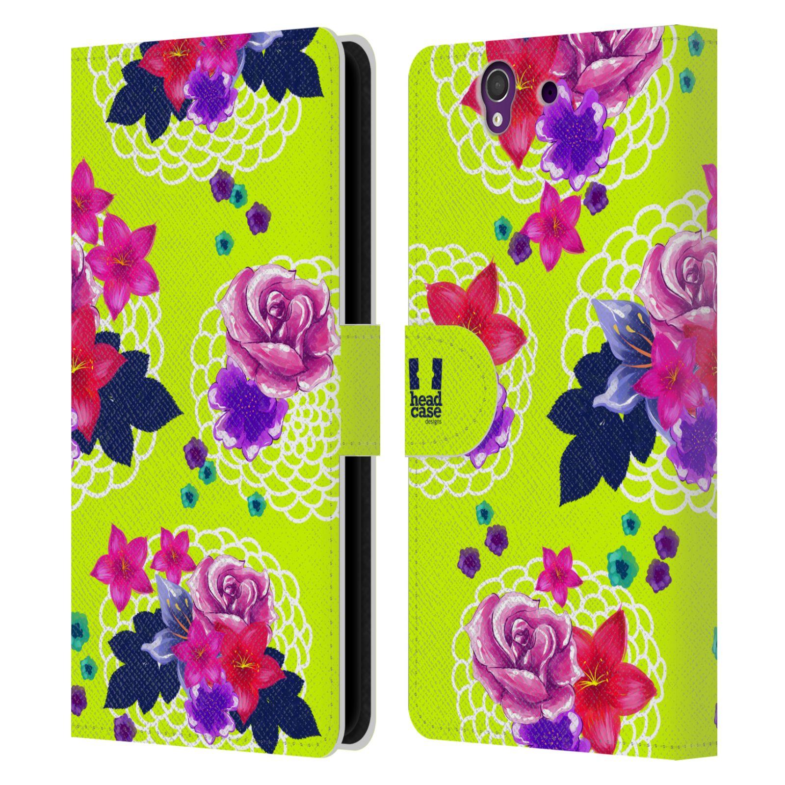 HEAD CASE Flipové pouzdro pro mobil SONY XPERIA Z (C6603) barevné kreslené květiny zářivě zelená