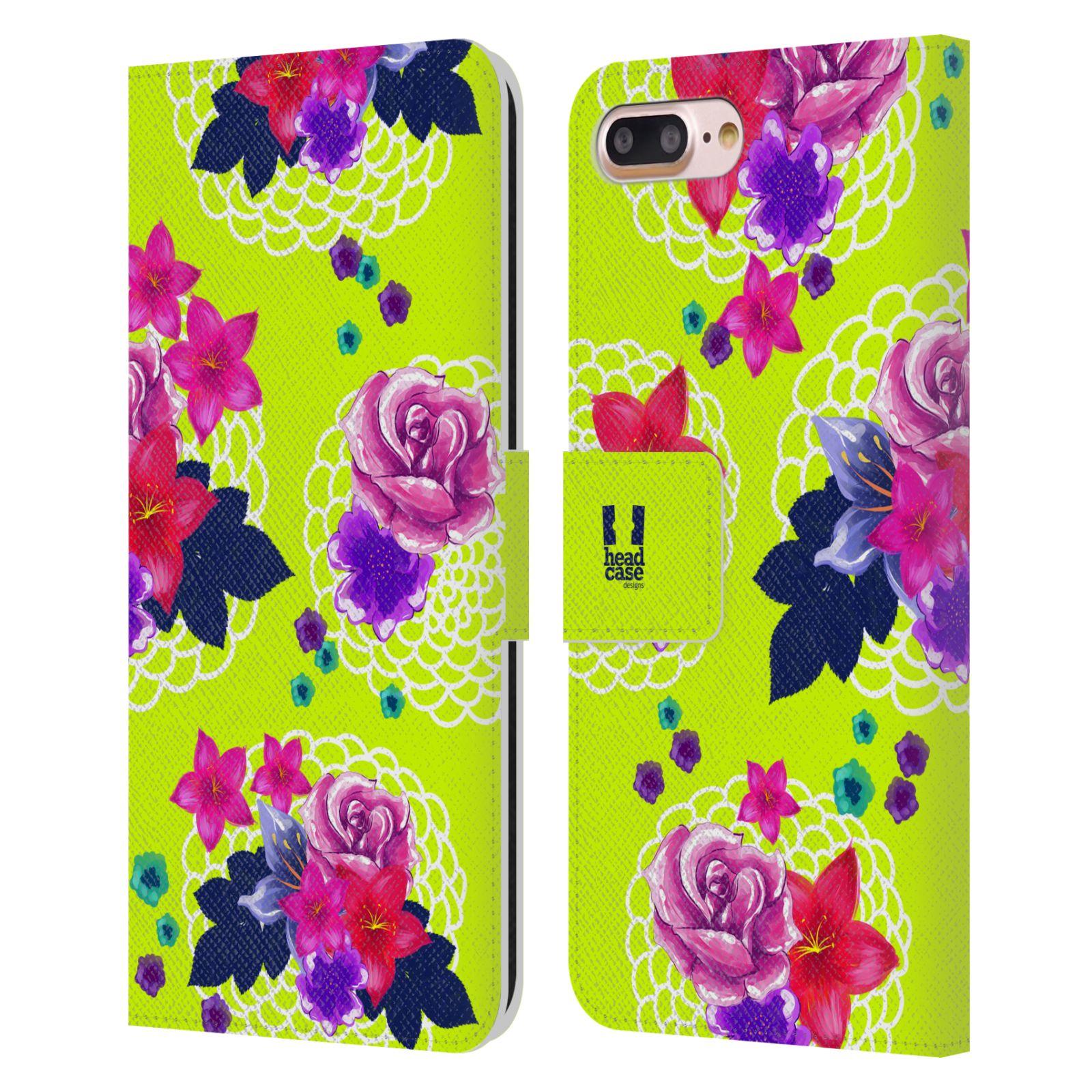 HEAD CASE Flipové pouzdro pro mobil Apple Iphone 7 PLUS / 8 PLUS barevné kreslené květiny zářivě zelená