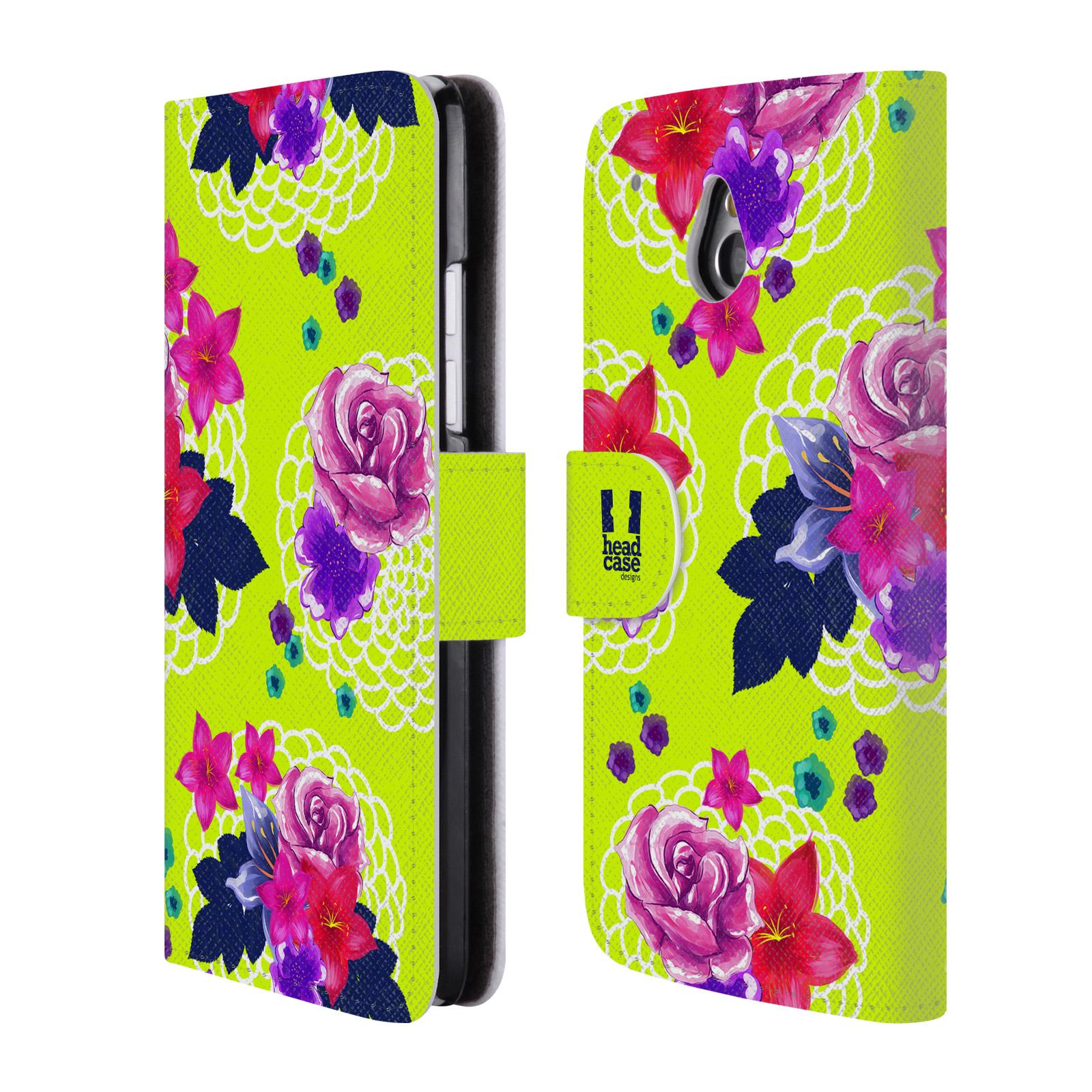 HEAD CASE Flipové pouzdro pro mobil HTC ONE MINI (M4) barevné kreslené květiny zářivě zelená