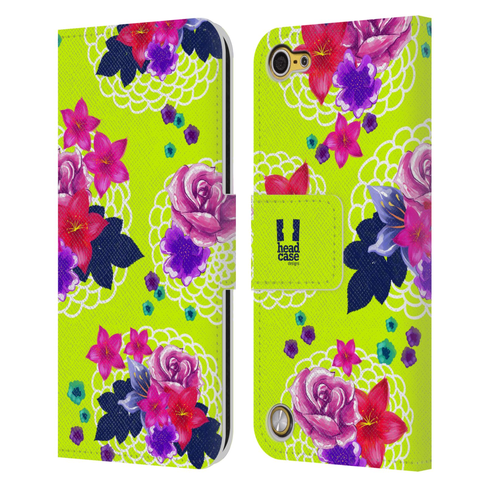 HEAD CASE DESIGNS PAINTED FLOWERS LEATHER BOOK WALLET CASE FOR APPLE iPOD TOUCH
