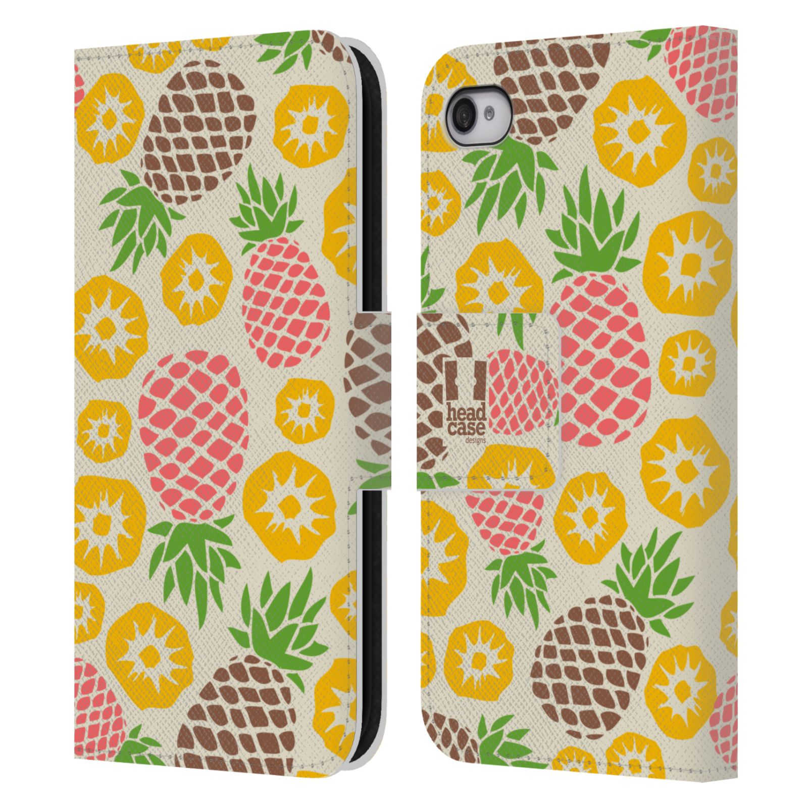 Head case designs pineapple patterns leather book case for for Apple design book