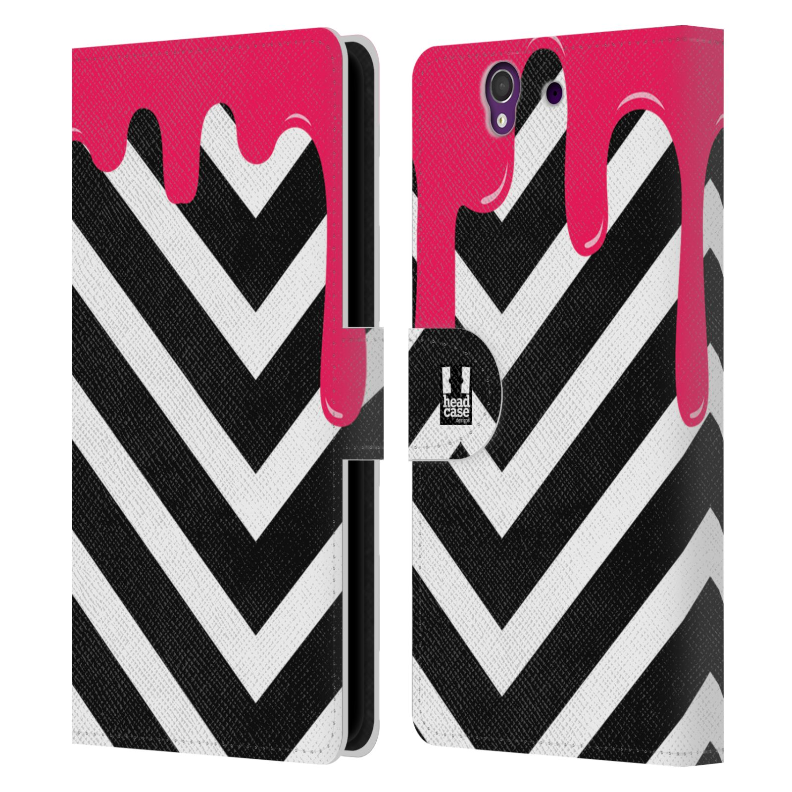 HEAD CASE Flipové pouzdro pro mobil SONY XPERIA Z (C6603) záplava barev a tvary růžová a černá pruhy