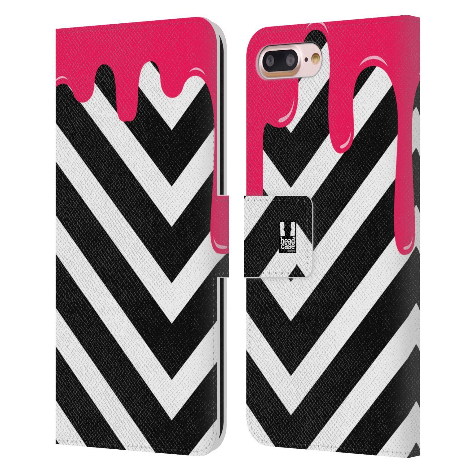 HEAD CASE Flipové pouzdro pro mobil Apple Iphone 7 PLUS / 8 PLUS záplava barev a tvary růžová a černá pruhy