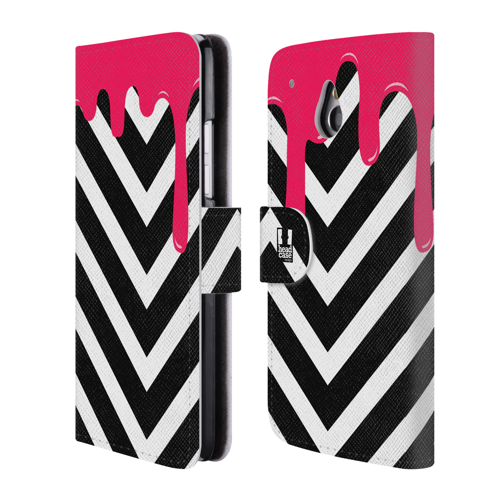 HEAD CASE Flipové pouzdro pro mobil HTC ONE MINI (M4) záplava barev a tvary růžová a černá pruhy
