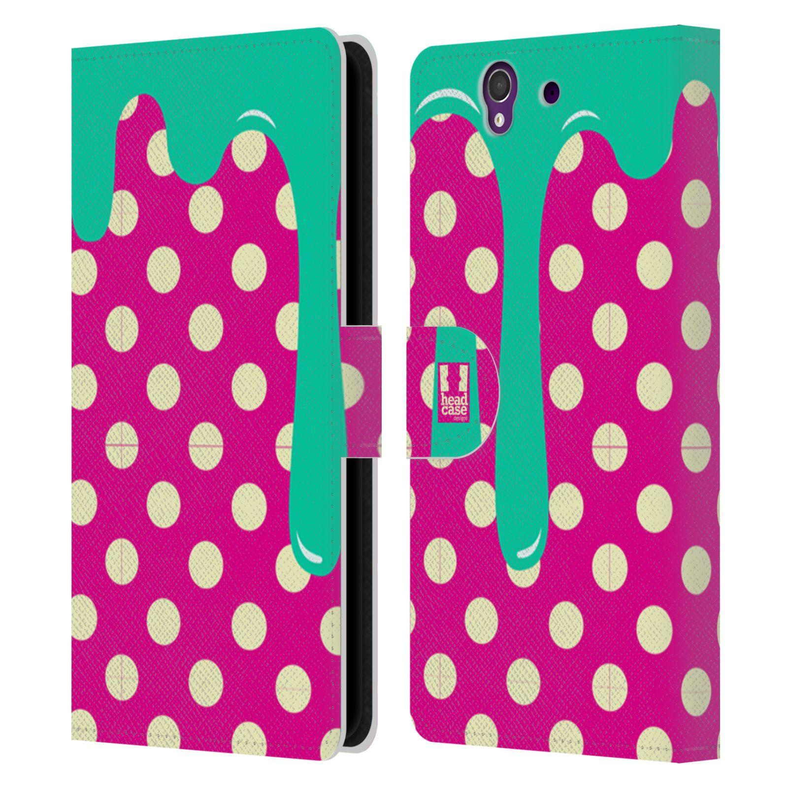HEAD CASE Flipové pouzdro pro mobil SONY XPERIA Z (C6603) záplava barev a tvary zelená, růžová a tečky