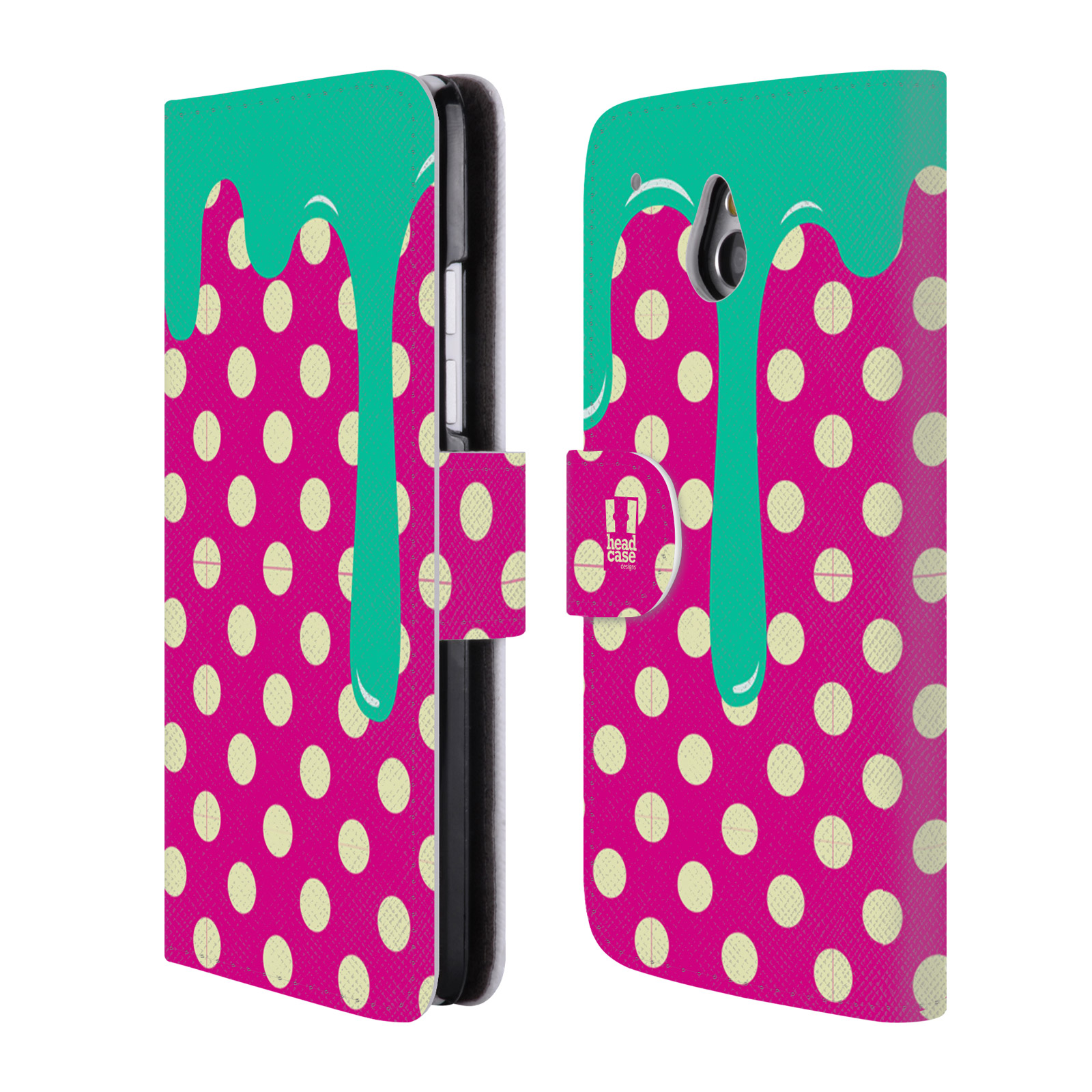 HEAD CASE Flipové pouzdro pro mobil HTC ONE MINI (M4) záplava barev a tvary zelená, růžová a tečky