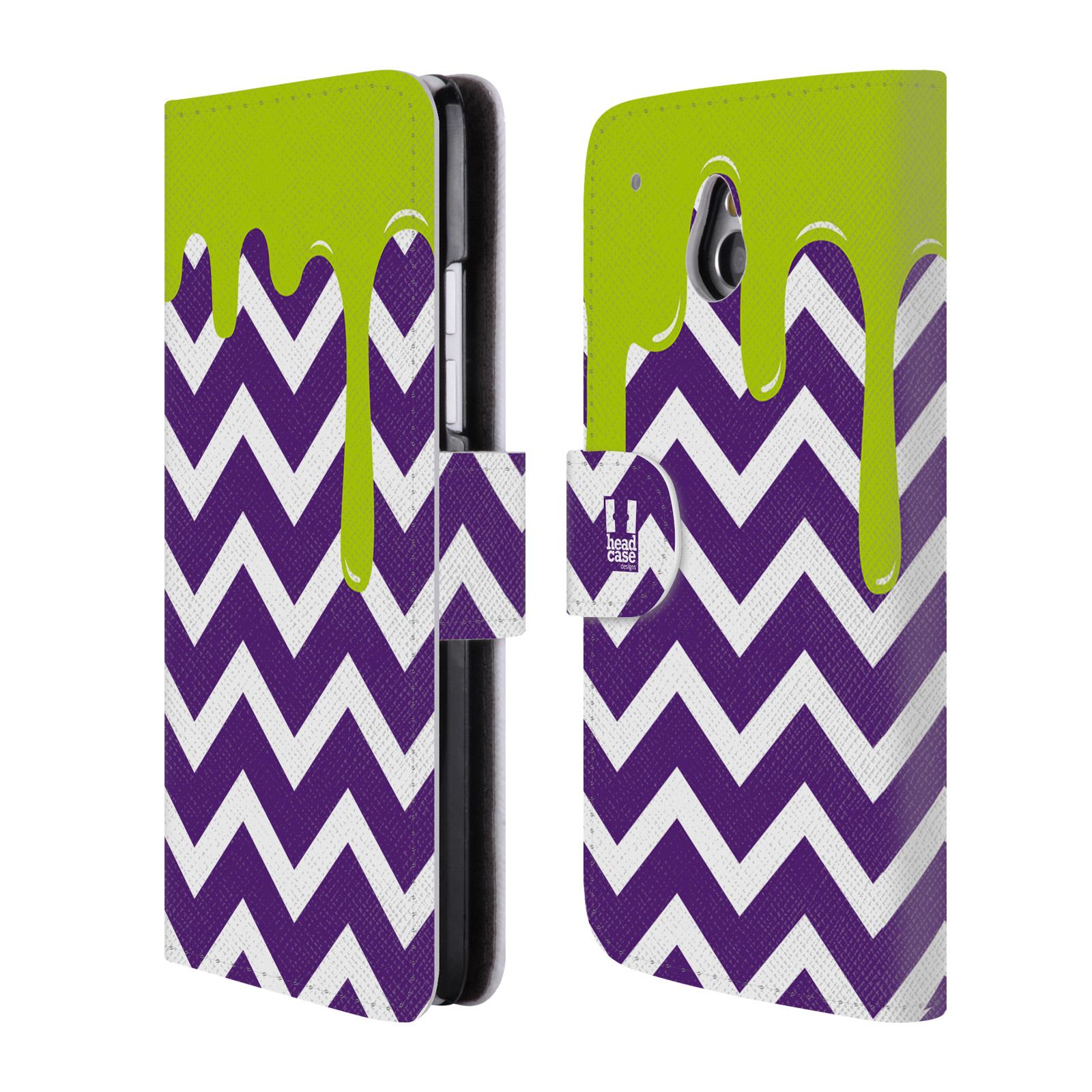 HEAD CASE Flipové pouzdro pro mobil HTC ONE MINI (M4) záplava barev a tvary fialová a zelená