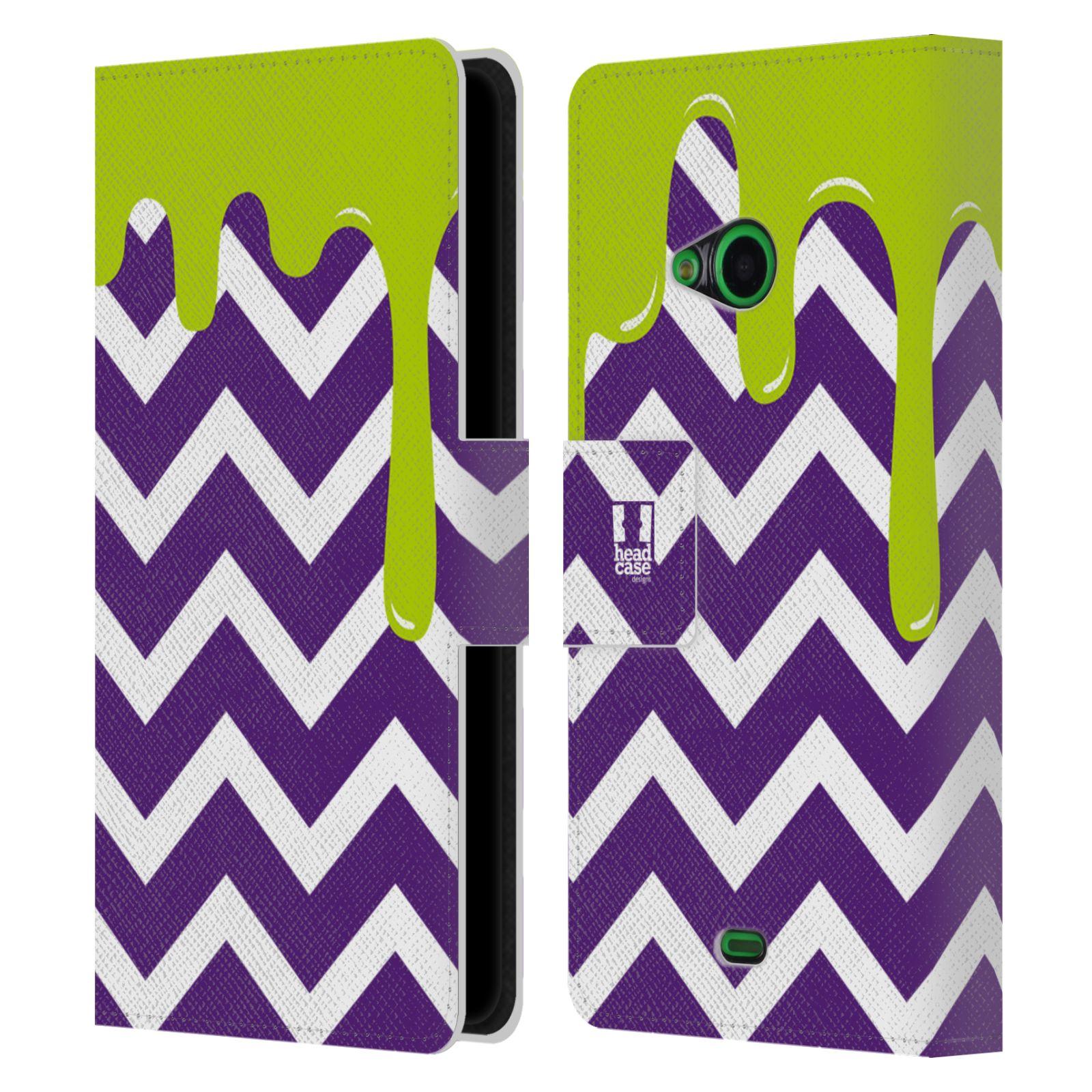 HEAD CASE Flipové pouzdro pro mobil NOKIA LUMIA 535 / LUMIA 535 DUAL záplava barev a tvary fialová a zelená