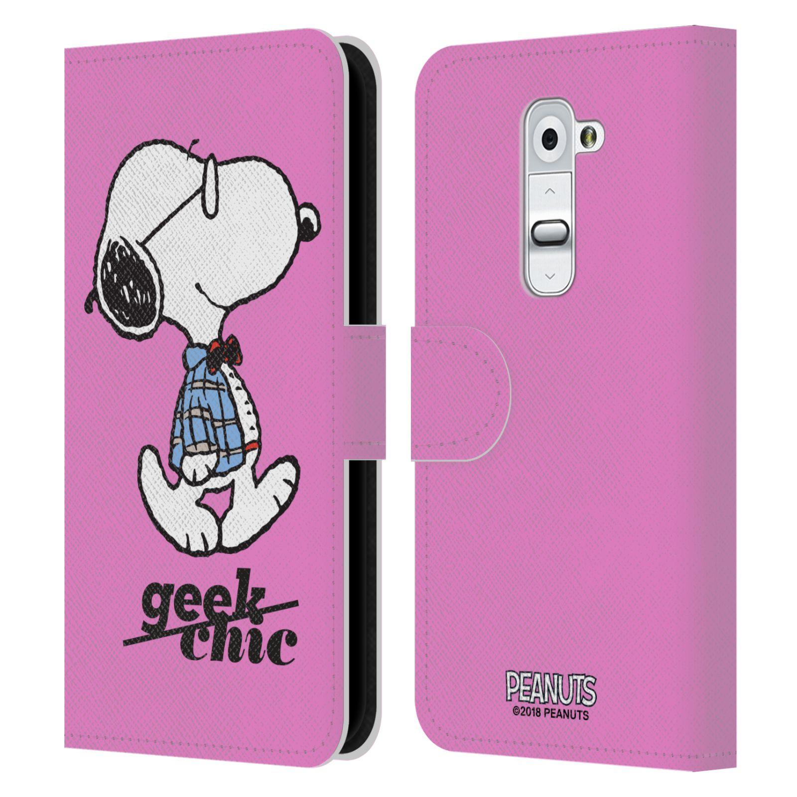 Pouzdro na mobil LG G2 - Head Case - Peanuts - růžový pejsek snoopy nerd