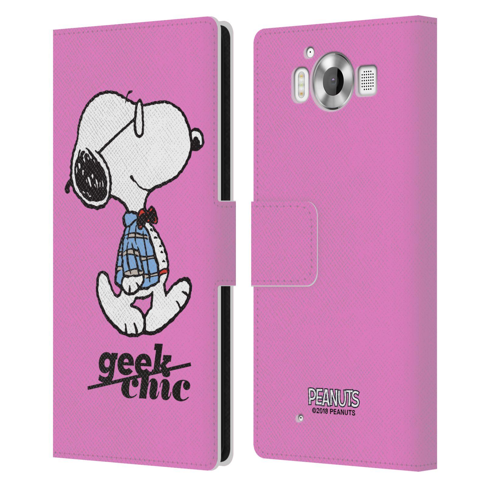 Pouzdro na mobil Nokia Lumia 950 - Head Case - Peanuts - růžový pejsek snoopy nerd