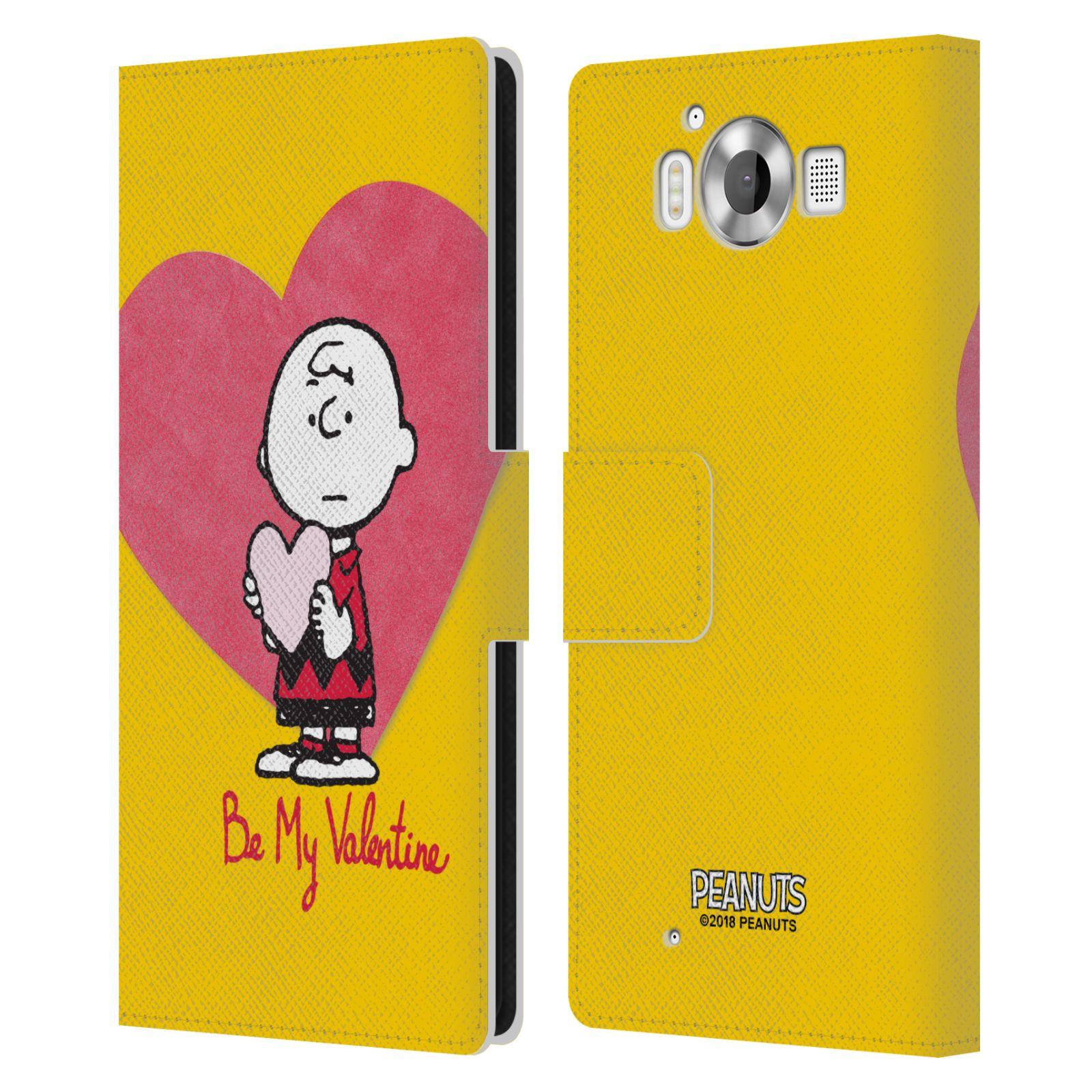 Pouzdro na mobil Nokia Lumia 950 - Head Case -Peanuts - Charlie Brown valentýnské srdíčko